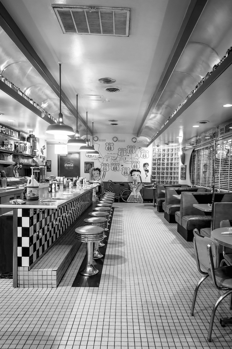 Charly McConnell_Get Your Kicks on Route 66_66 Diner Interior.jpg