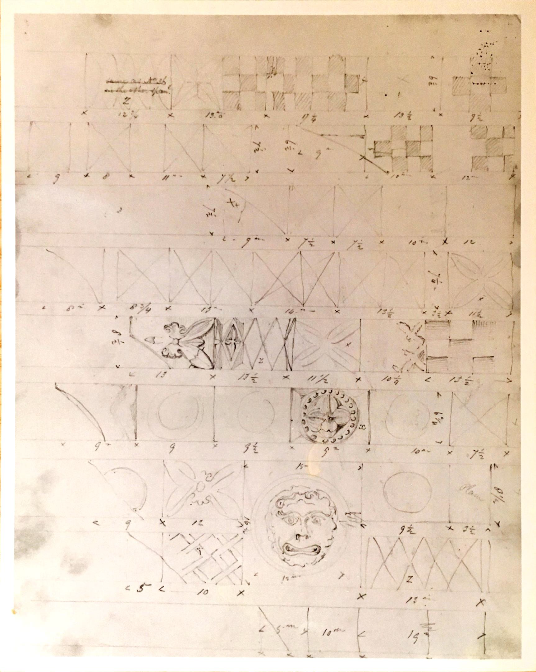 Figure 3. One of L. N. Cottingham's sketches of the sculptural decoration removed from the Great West Window spandrels during restoration work in 1825.