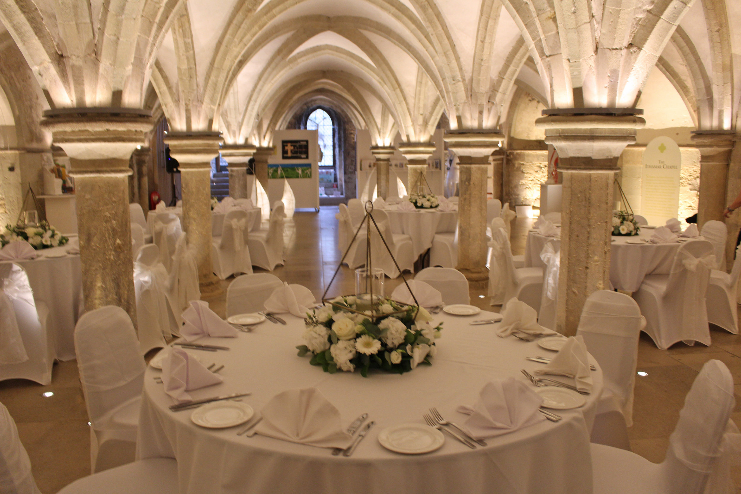 Crypt dressed for a wedding reception