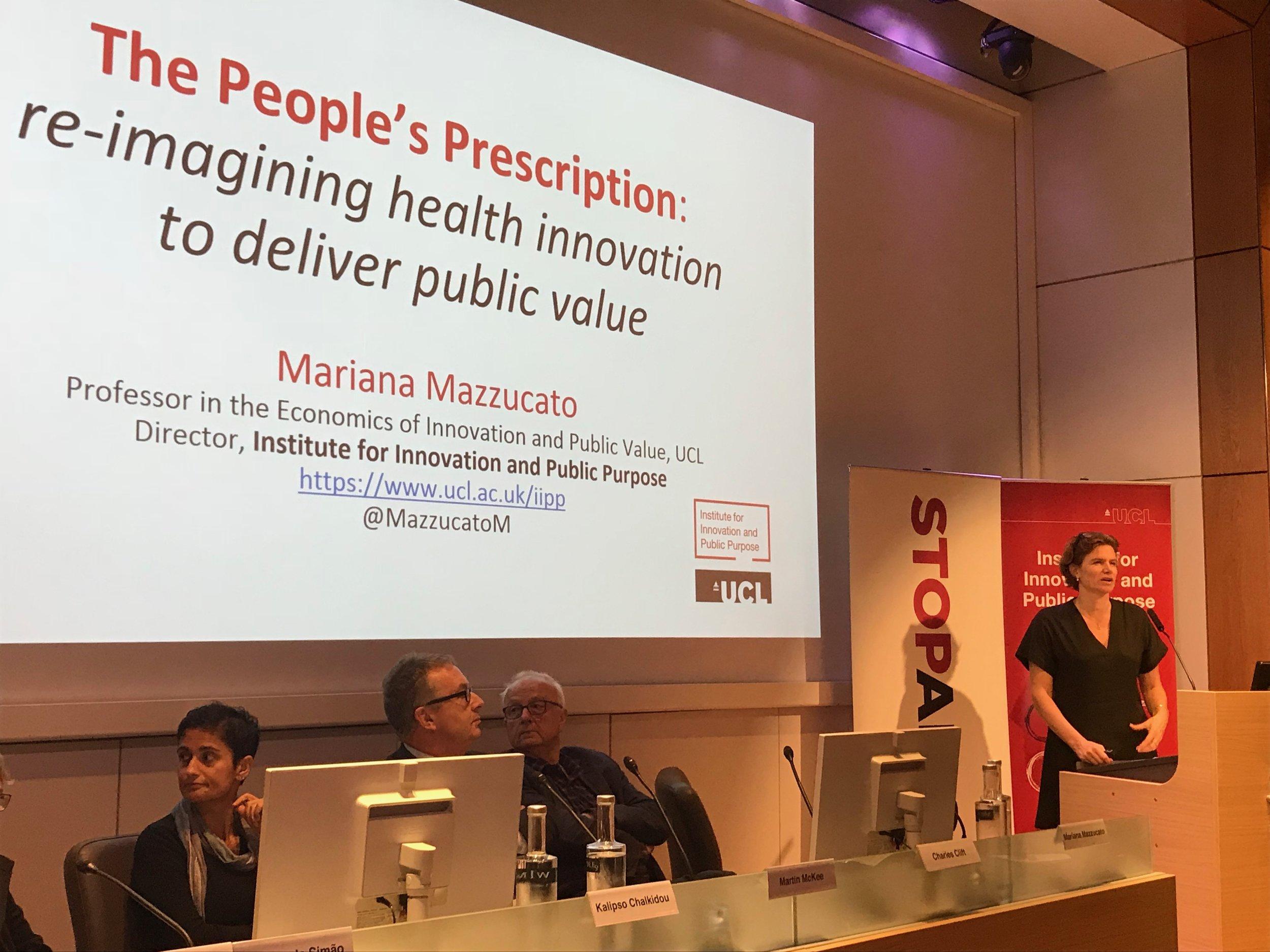 Mariana Mazzucato launches the People's Prescription report.