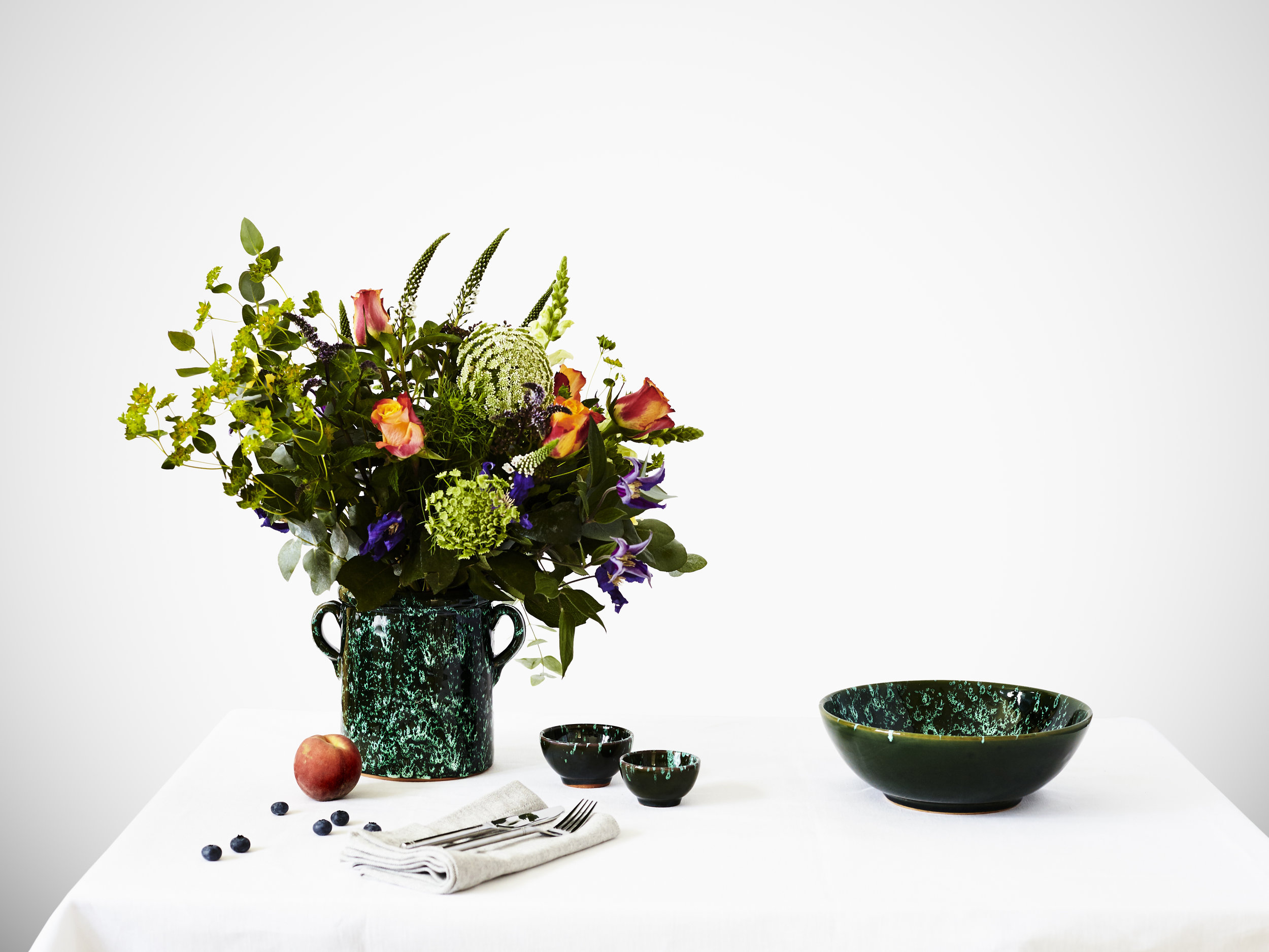 Italian Splatter Ceramic Planter And Bowls.jpg