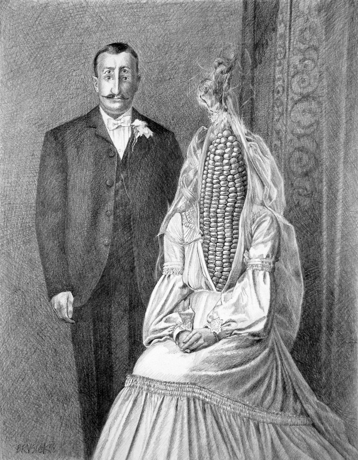 August Wedding, 2010, Pencil on Bristol Paper, 13.5 x 10.5 inches.