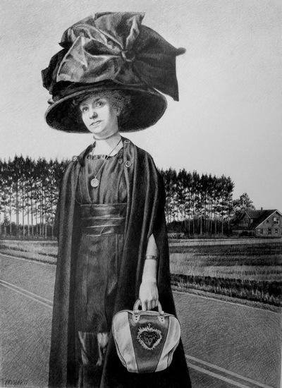Evangeline   2011, graphite on Bristol paper. Image size: 21.50 x 15 inches