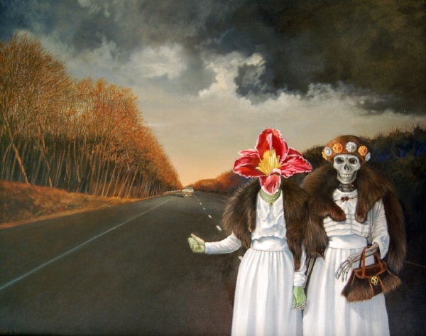 Hitchhikers - SOLD   Oil on Canvas, 24 x 30 inches