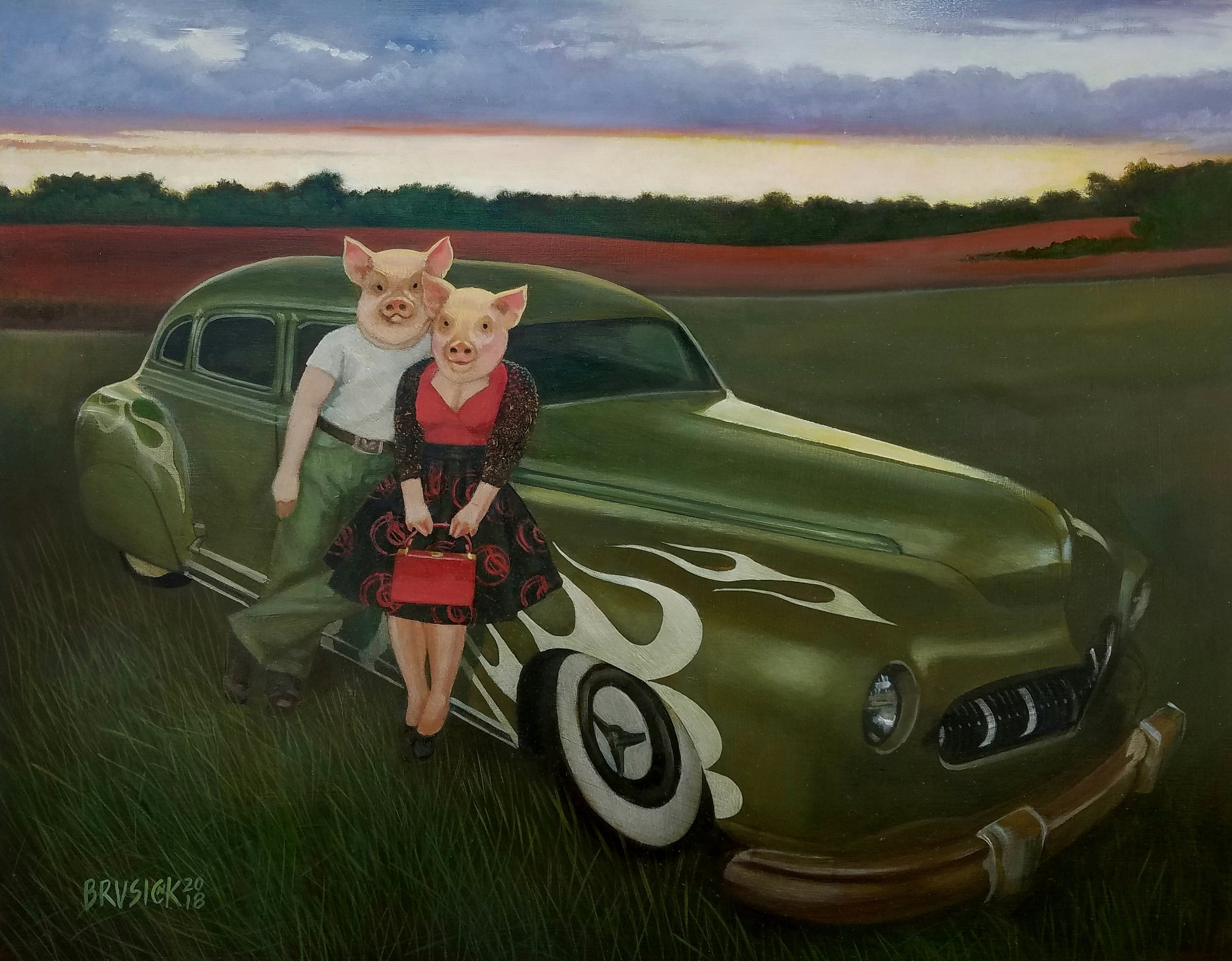 Rockabilly Pigs   2018, Oil on Wood, 8 x 10 inches
