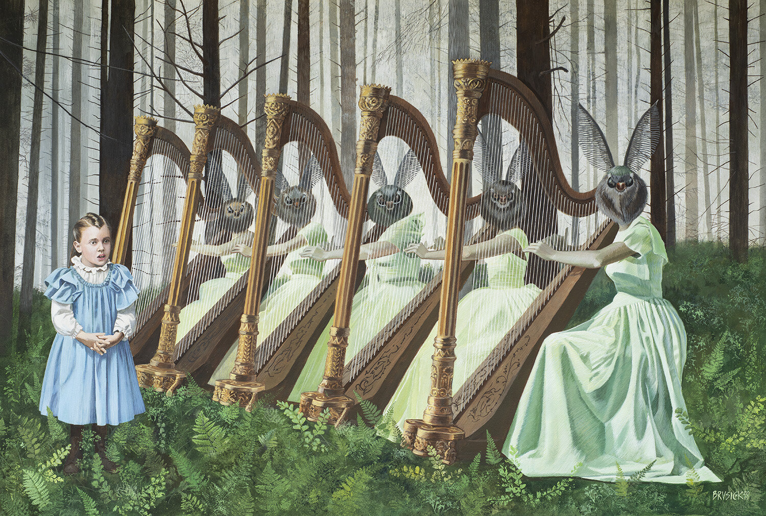 The Moth Harpists of Trinidad   2019, Gouache on Arches Paper, 32 x 40 inches