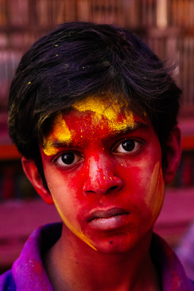 Boy With Holi Colour, India