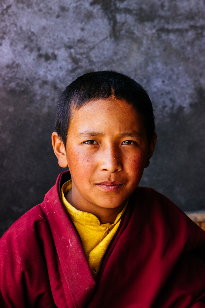 A young Buddhist monk in Hemis monastery, Ladakh region, India