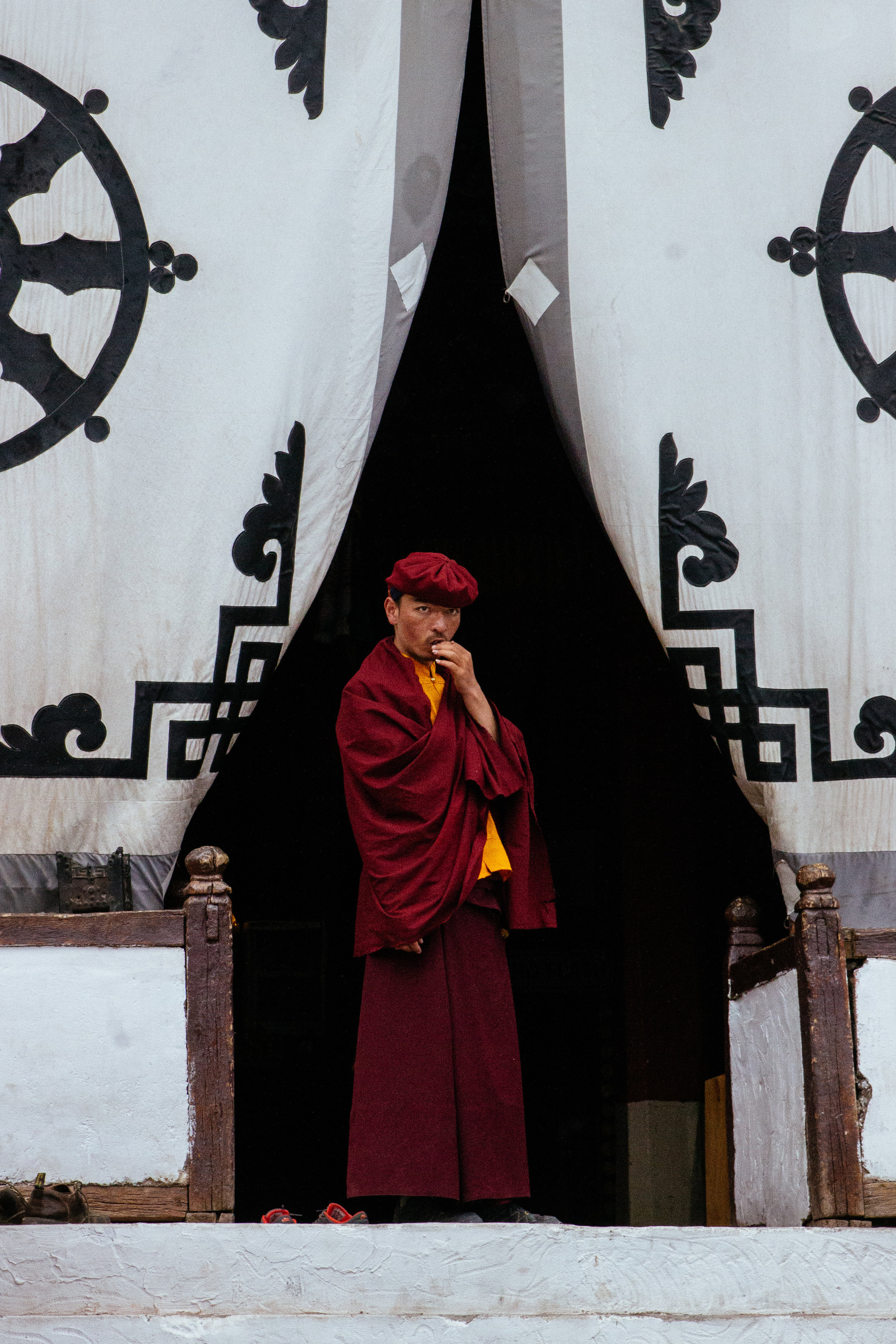 A Buddhist monk at Hemis monastery.
