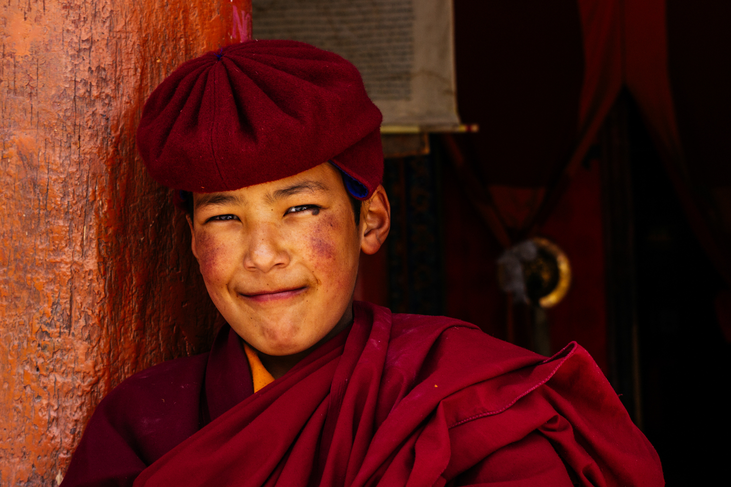 A young novice monk in Hemis monastery