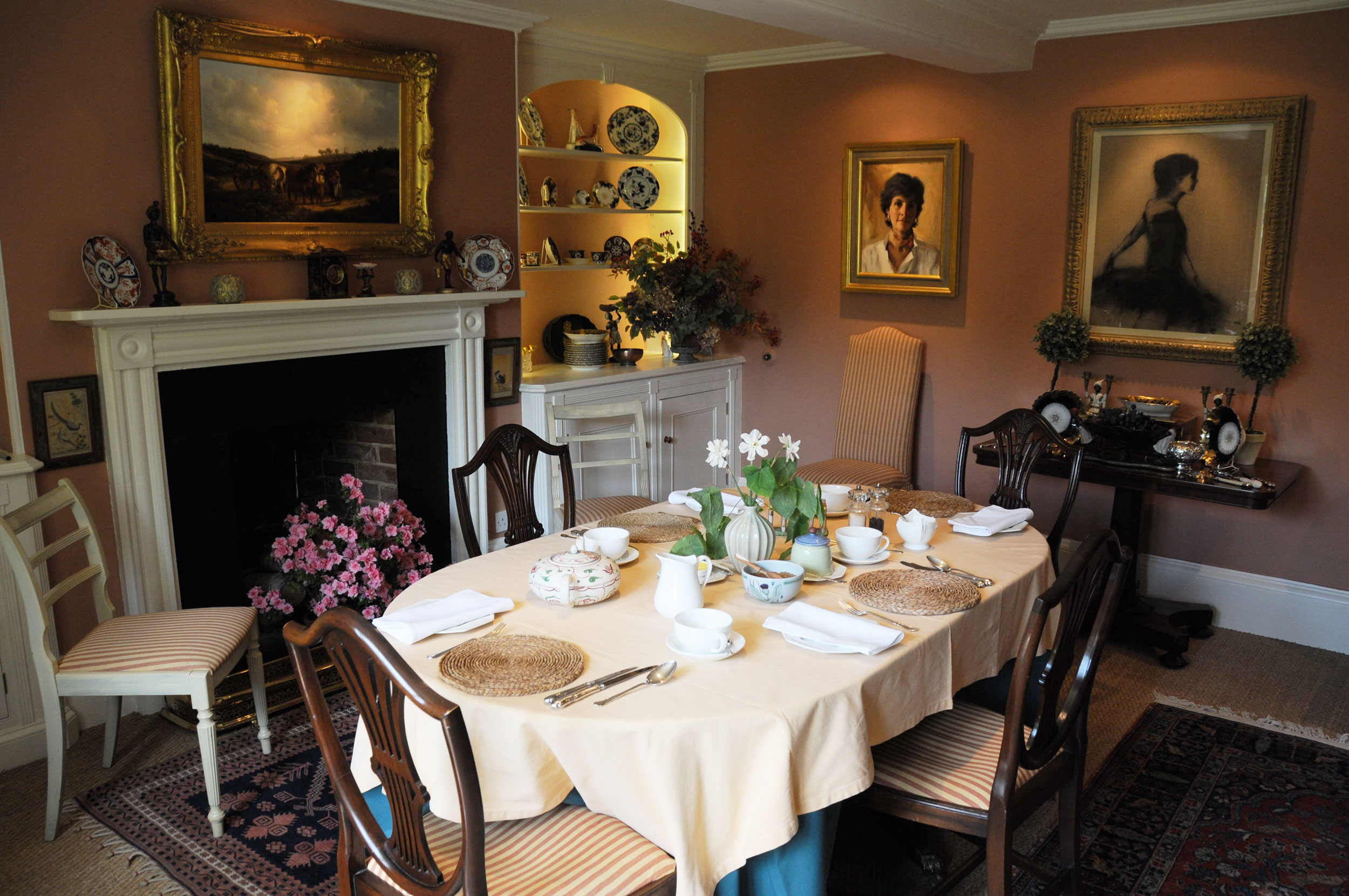 BREAKFAST - Delicious, hearty breakfasts are served in the family's elegant Dining Room at the front of the main house. Eggs, bacon and sausages from the farm are cooked on the Aga and served alongside homemade jams and compotes made with garden fruits.
