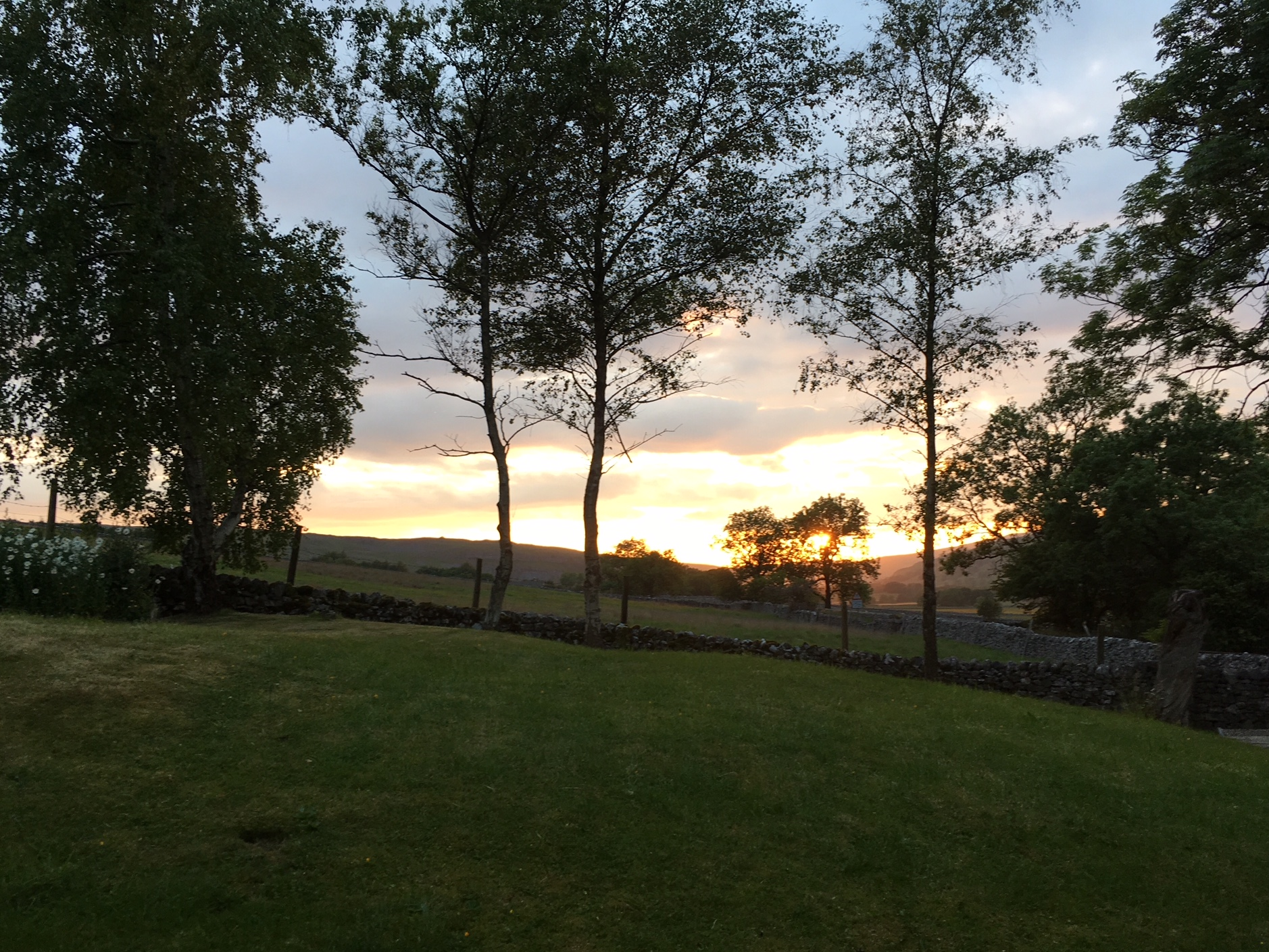 - Mid month we took advantage of a natural break between guests to take a few days away in the Yorkshire Dales. We stayed at the delightful Warren House B&B near Kettlewell - beautiful scenery, generous hosts and very comfortable accommodation. This was the sunset from our suite...