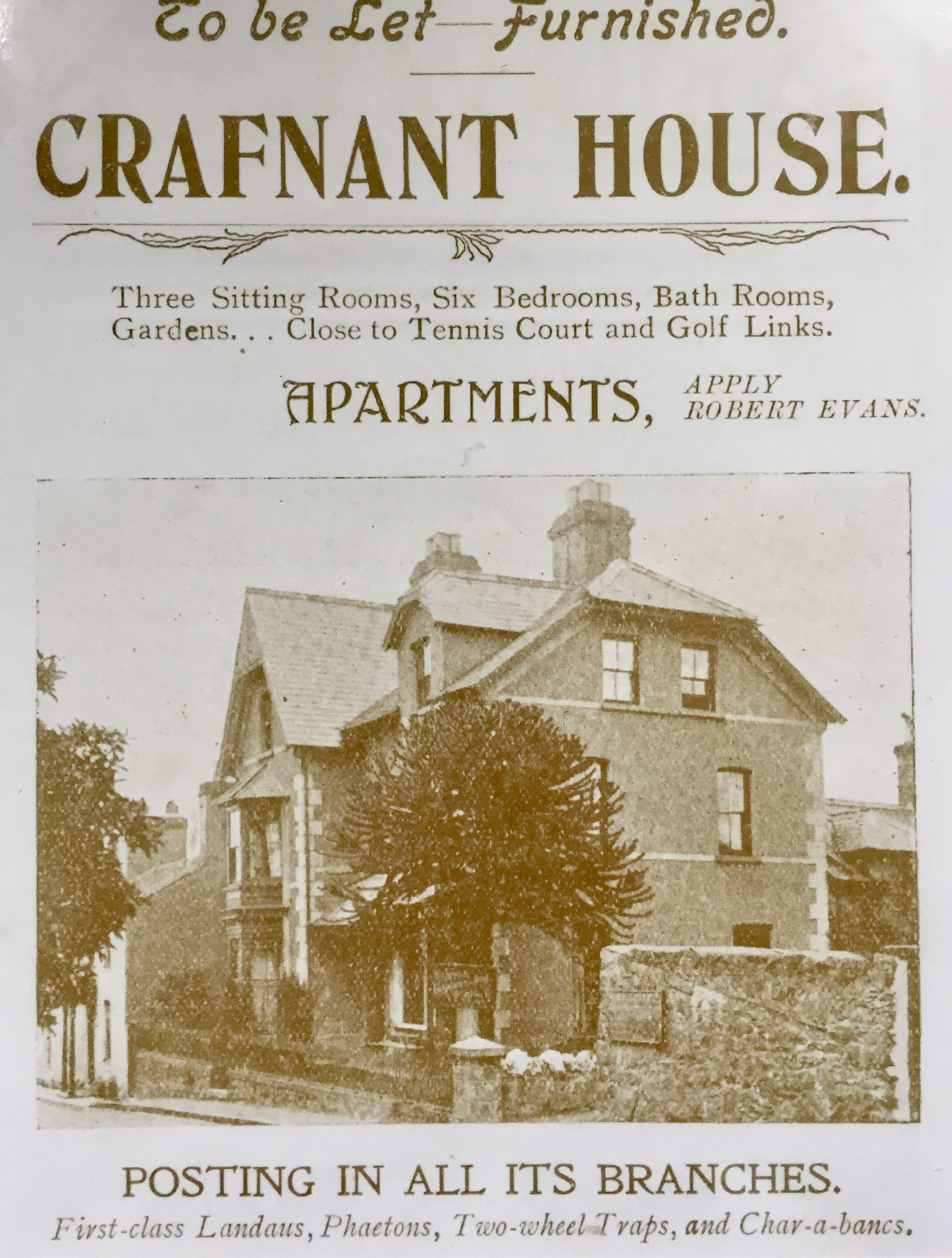 "- The new owner, Robert Evans, advertised Crafnant House as holiday apartments in 1907, and was also a garage proprietor who ""made arrangements to meet the steamers at the… landing stage with a Charabanc, also Waggonettes, Landaus etc, to convey passengers to Betws-y-Coed, Swallow Falls, Crafnant Lake, or any other places""…..!The garage and associated buildings remained in place until the late 1990s when the previous owner demolished them (with ease apparently!) and created the beautiful garden that is now present."