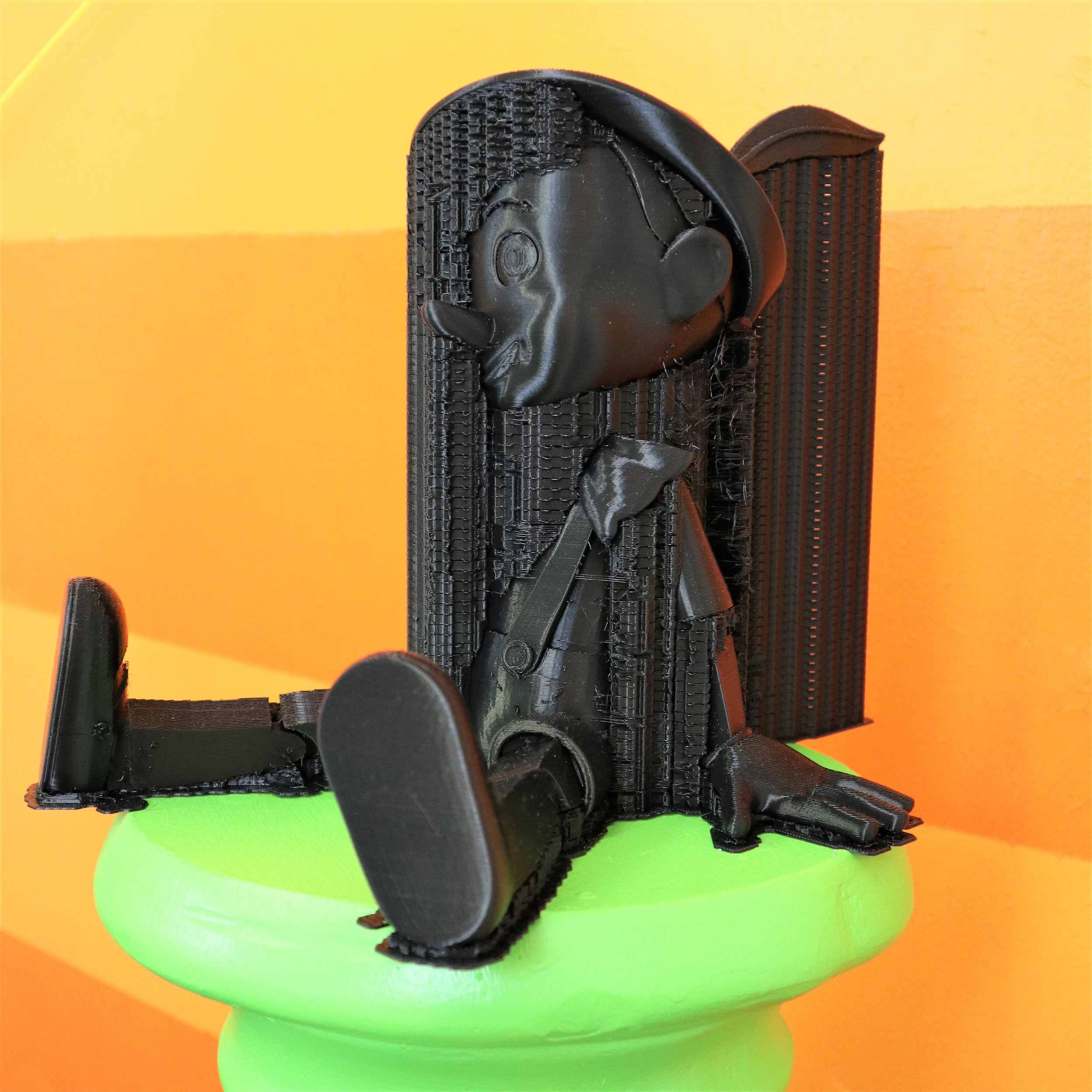 Pinocchio_Seated   2018  polylactic acid 3D print  3D print made secretly in military contractor's printing lab using model design purchased online