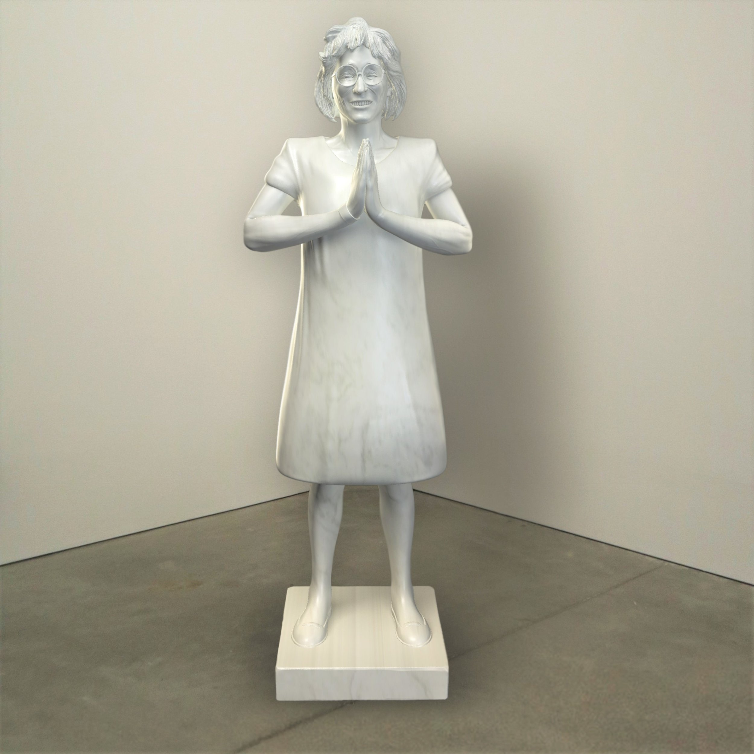 """Presence,"" marble, Institute of Contemporary Art, Boston   2018  JPG  During an installation at the Institute of Contemporary Art in Boston, viewers were invited to imagine themselves as statues in the ICA's permanent collection. Participants were photographed posing as a statue they felt represented themselves, created a name for their fictional statue, and selected a stone from which their statue would be made. Professional and amateur digital artists were commissioned to create renderings of the statues, which were superimposed on photos of the ICA's permanent collection gallery space."