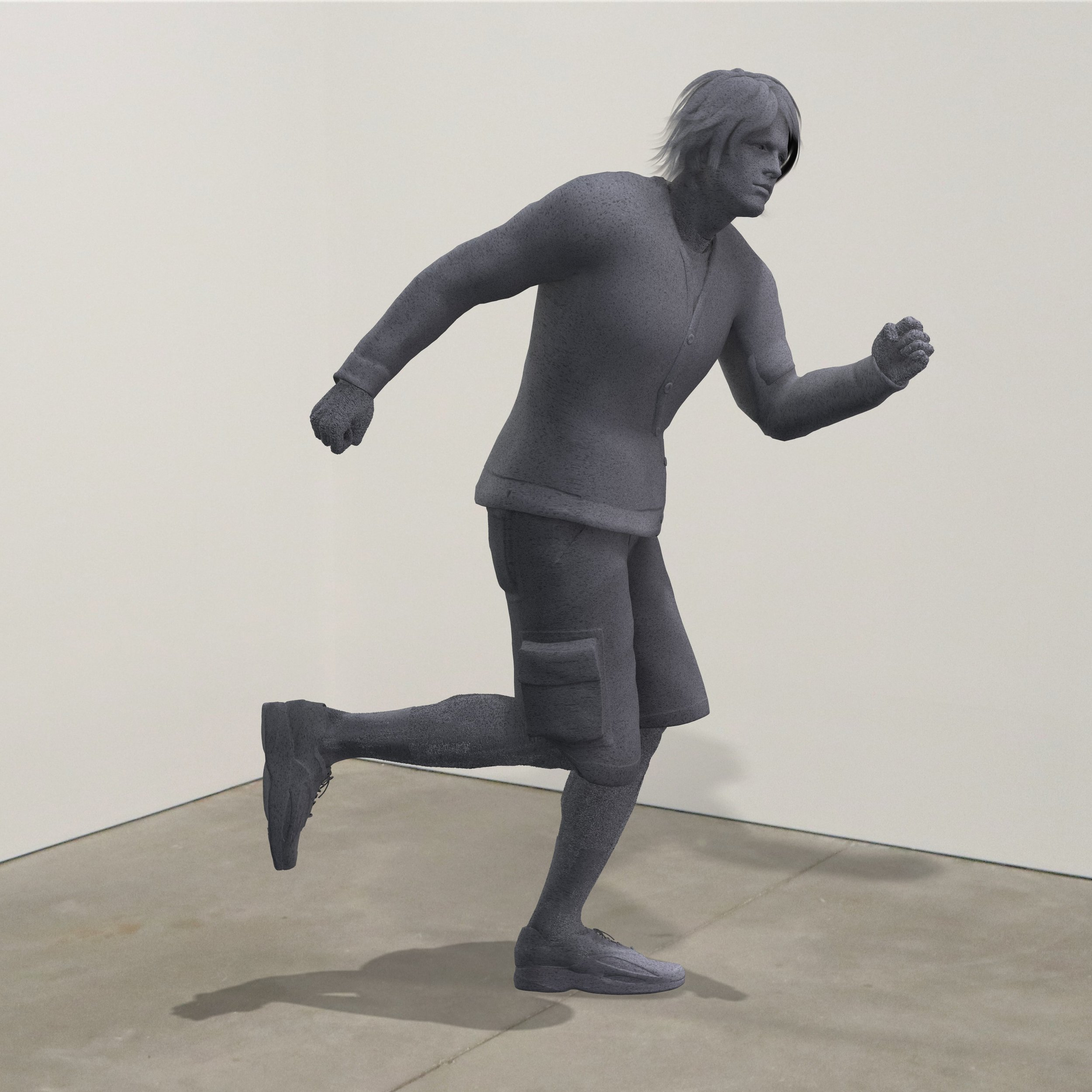 """Running From My Problems,"" granite, Institute of Contemporary Art, Boston   2018  JPG  During an installation at the Institute of Contemporary Art in Boston, viewers were invited to imagine themselves as statues in the ICA's permanent collection. Participants were photographed posing as a statue they felt represented themselves, created a name for their fictional statue, and selected a stone from which their statue would be made. Professional and amateur digital artists were commissioned to create renderings of the statues, which were superimposed on photos of the ICA's permanent collection gallery space."
