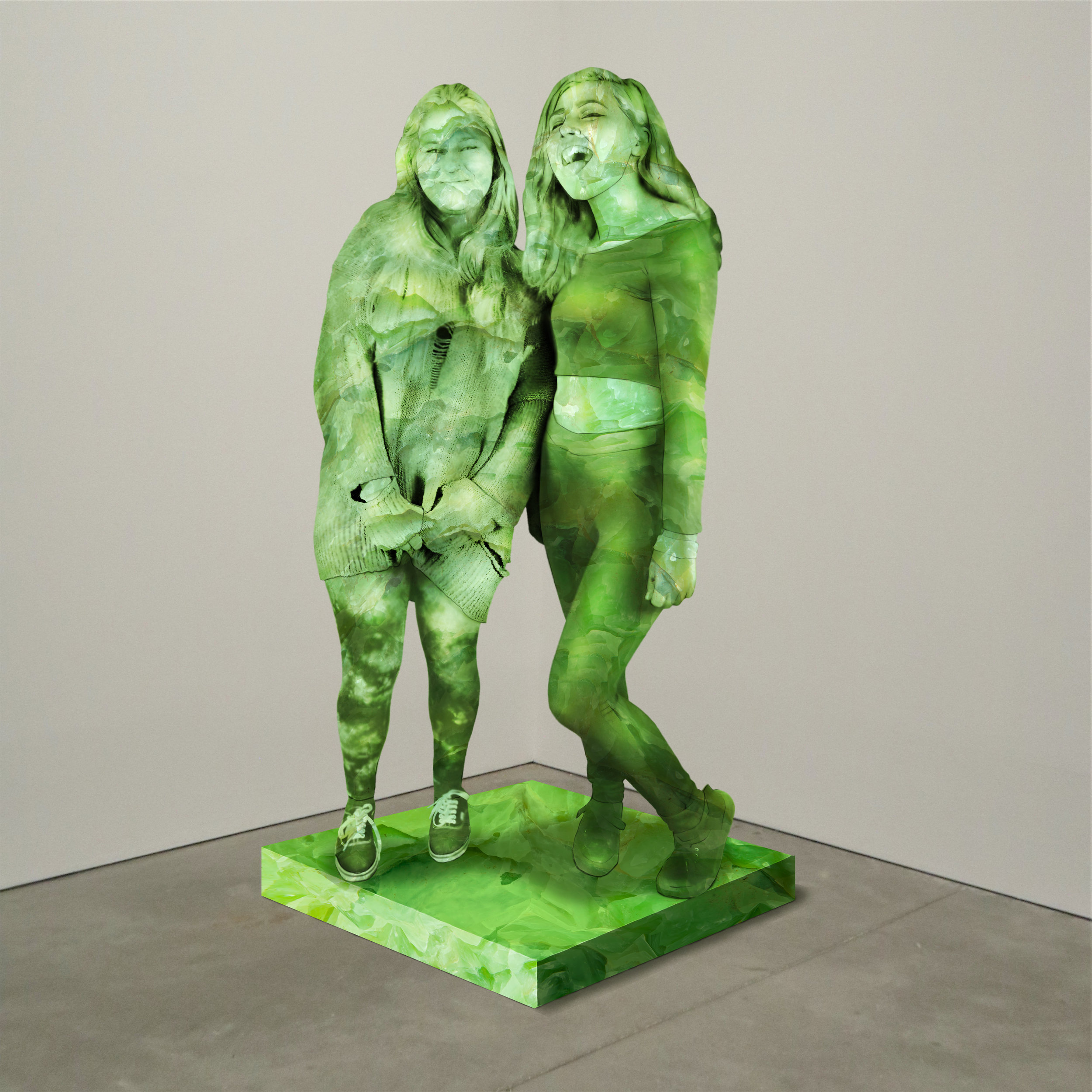 """Untitled No. 1"" jade, Institute of Contemporary Art, Boston   2018  JPG  During an installation at the Institute of Contemporary Art in Boston, viewers were invited to imagine themselves as statues in the ICA's permanent collection. Participants were photographed posing as a statue they felt represented themselves, created a name for their fictional statue, and selected a stone from which their statue would be made. Professional and amateur digital artists were commissioned to create renderings of the statues, which were superimposed on photos of the ICA's permanent collection gallery space."