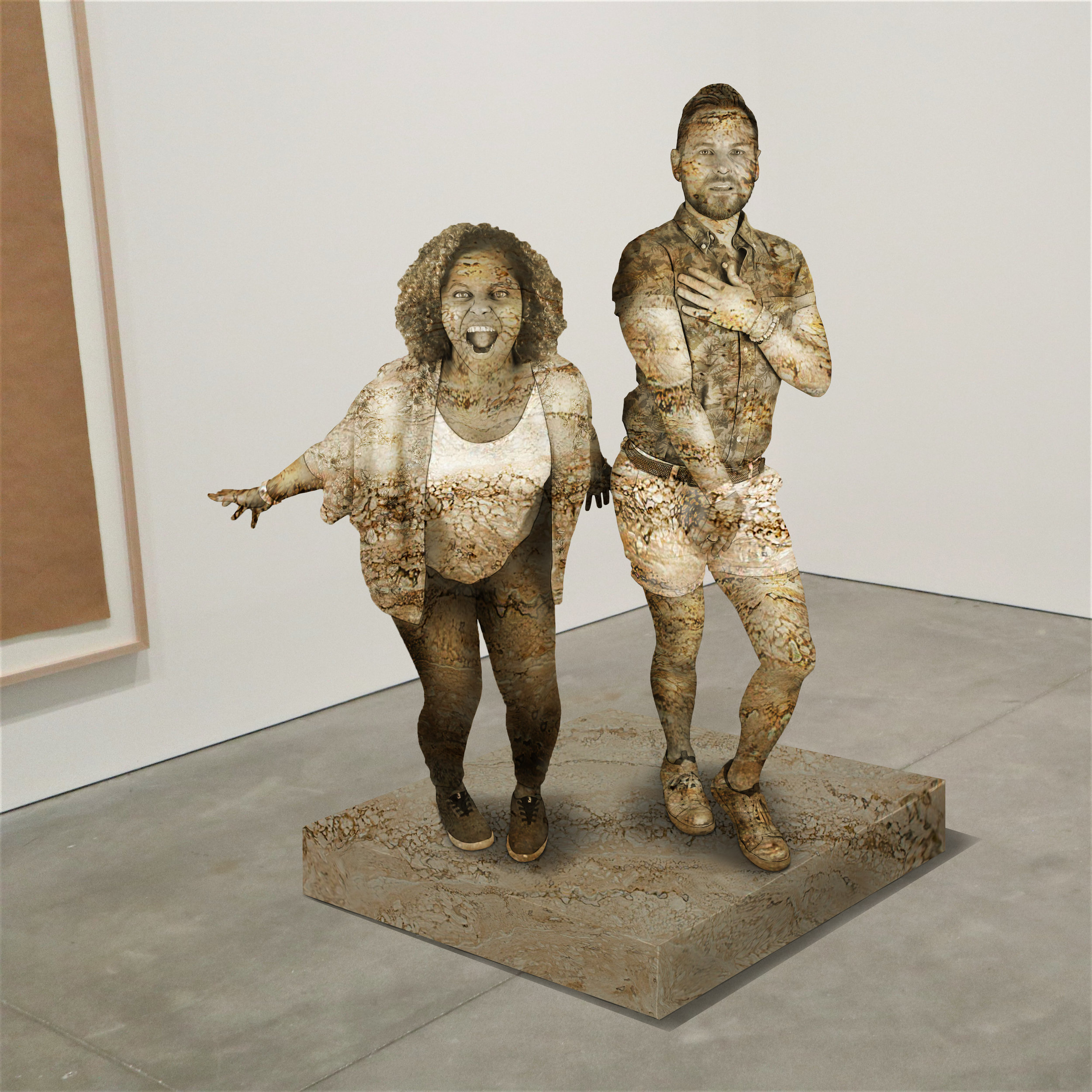 """Venus + Mars,"" travertine, Institute of Contemporary Art, Boston   2018  JPG  During an installation at the Institute of Contemporary Art in Boston, viewers were invited to imagine themselves as statues in the ICA's permanent collection. Participants were photographed posing as a statue they felt represented themselves, created a name for their fictional statue, and selected a stone from which their statue would be made. Professional and amateur digital artists were commissioned to create renderings of the statues, which were superimposed on photos of the ICA's permanent collection gallery space."