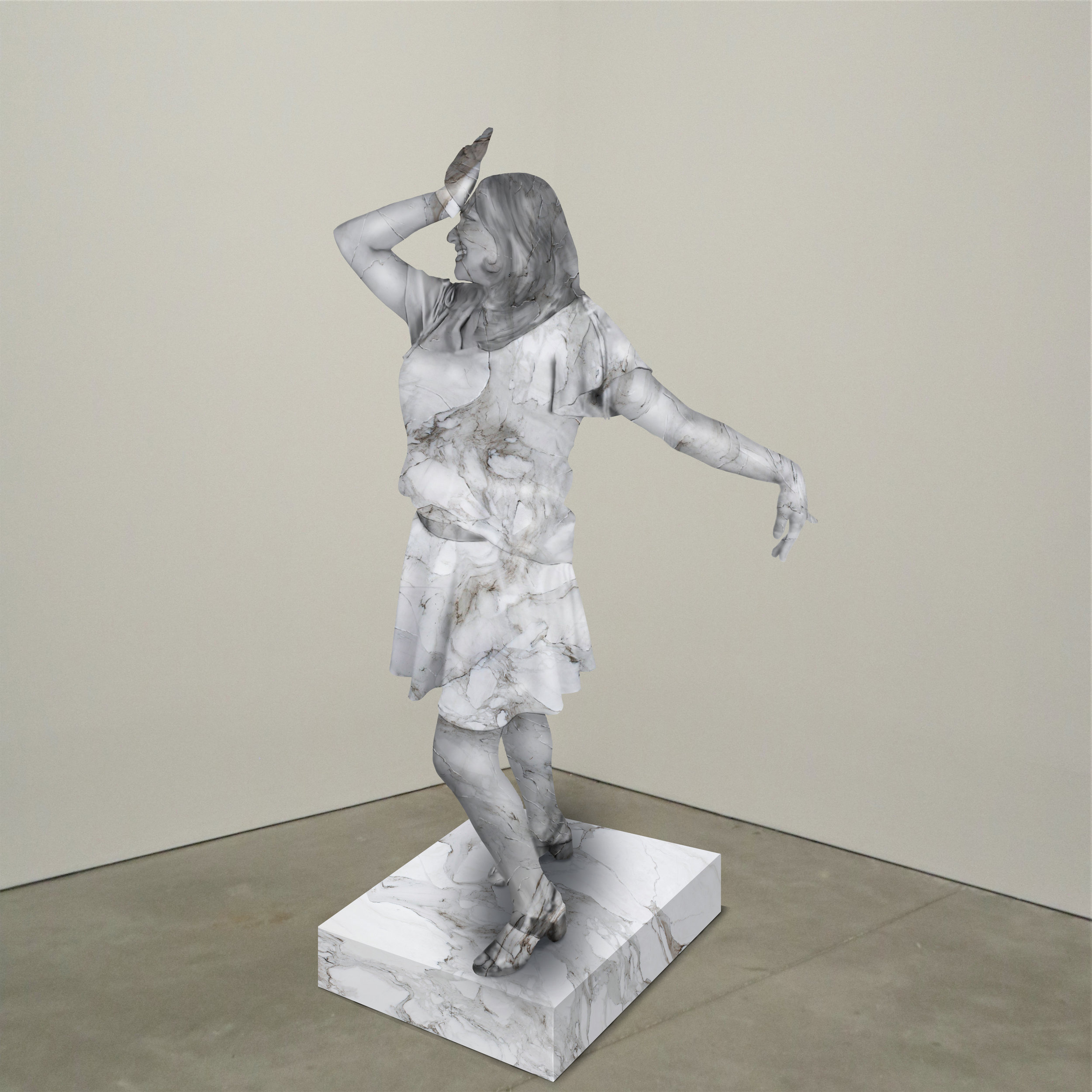 """Bollywood,"" marble, Institute of Contemporary Art, Boston   2018  JPG  During an installation at the Institute of Contemporary Art in Boston, viewers were invited to imagine themselves as statues in the ICA's permanent collection. Participants were photographed posing as a statue they felt represented themselves, created a name for their fictional statue, and selected a stone from which their statue would be made. Professional and amateur digital artists were commissioned to create renderings of the statues, which were superimposed on photos of the ICA's permanent collection gallery space."