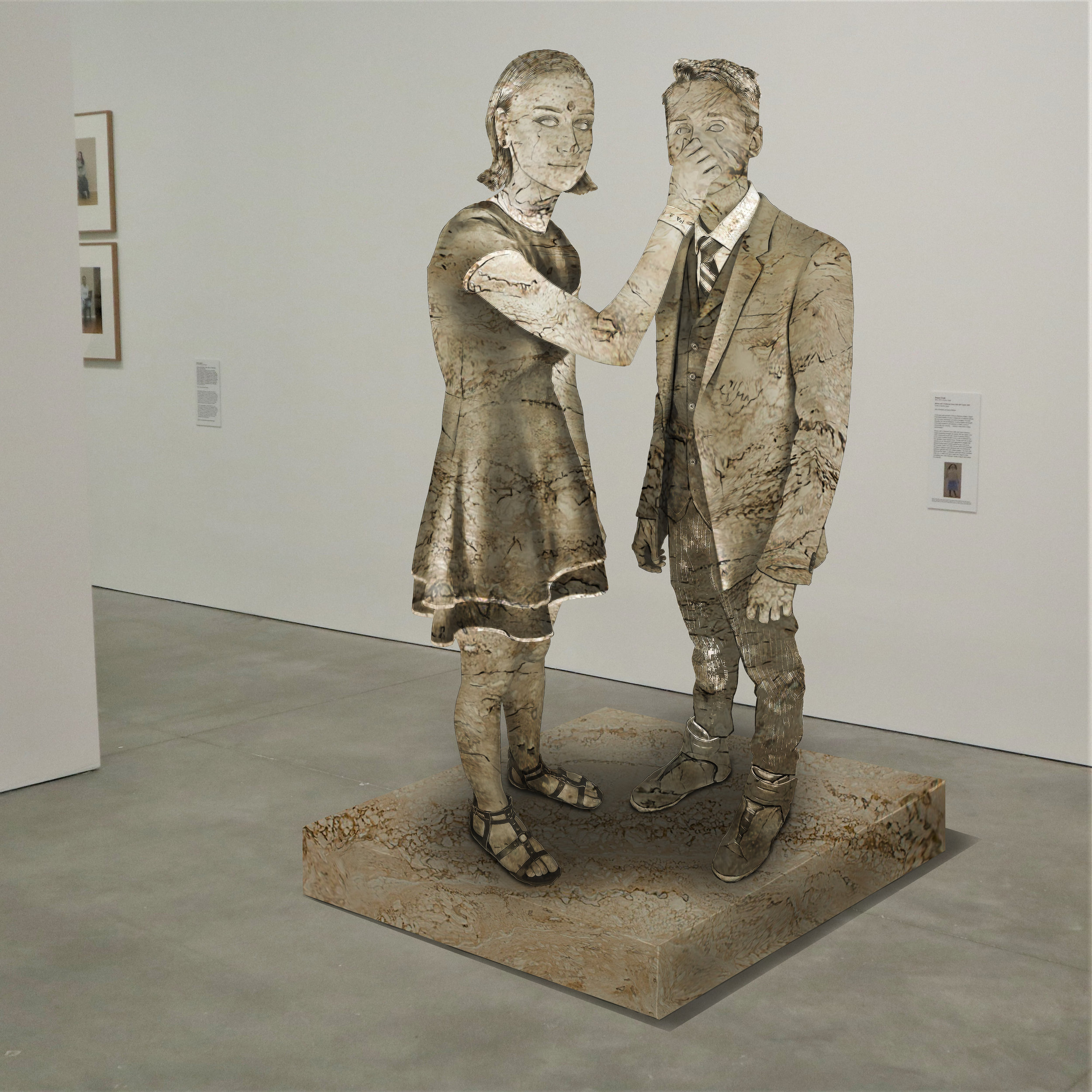 """Four-Twenty-Two"" travertine, Institute of Contemporary Art, Boston   2018  JPG  During an installation at the Institute of Contemporary Art in Boston, viewers were invited to imagine themselves as statues in the ICA's permanent collection. Participants were photographed posing as a statue they felt represented themselves, created a name for their fictional statue, and selected a stone from which their statue would be made. Professional and amateur digital artists were commissioned to create renderings of the statues, which were superimposed on photos of the ICA's permanent collection gallery space."