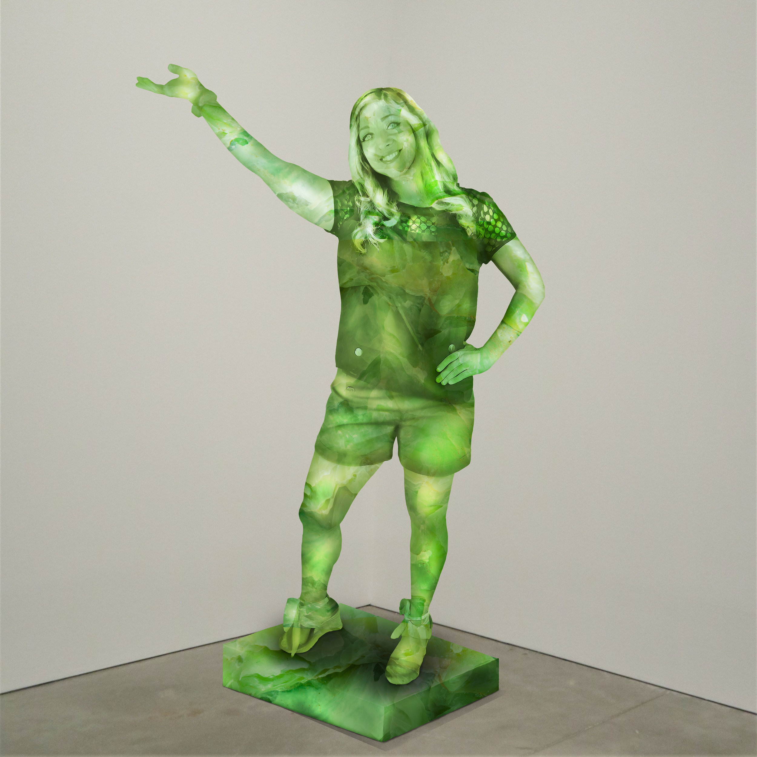 """Free Spirit"" jade, Institute of Contemporary Art, Boston   2018  JPG  During an installation at the Institute of Contemporary Art in Boston, viewers were invited to imagine themselves as statues in the ICA's permanent collection. Participants were photographed posing as a statue they felt represented themselves, created a name for their fictional statue, and selected a stone from which their statue would be made. Professional and amateur digital artists were commissioned to create renderings of the statues, which were superimposed on photos of the ICA's permanent collection gallery space."