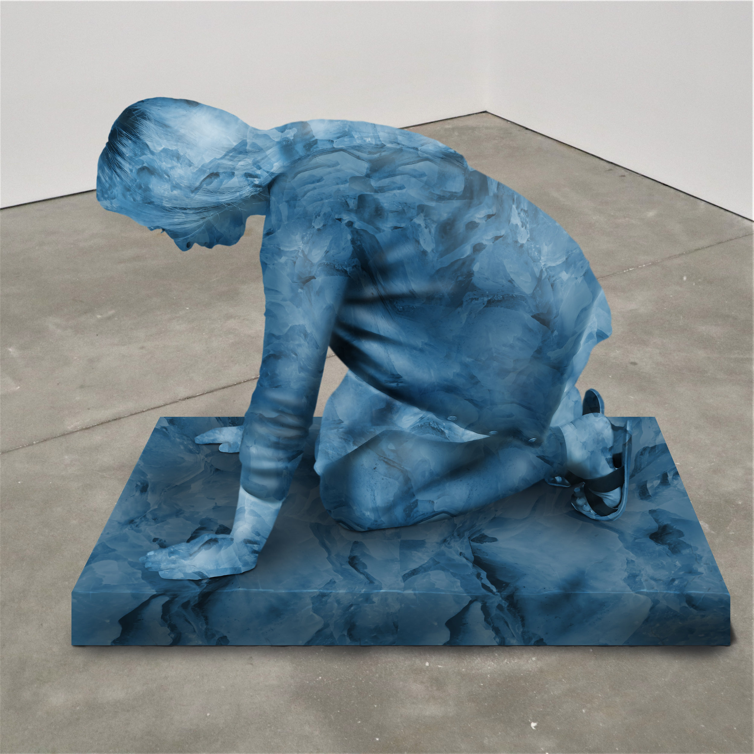 """Swallow the moon,"" lapis lazuli, Institute of Contemporary Art, Boston   2018  JPG  During an installation at the Institute of Contemporary Art in Boston, viewers were invited to imagine themselves as statues in the ICA's permanent collection. Participants were photographed posing as a statue they felt represented themselves, created a name for their fictional statue, and selected a stone from which their statue would be made. Professional and amateur digital artists were commissioned to create renderings of the statues, which were superimposed on photos of the ICA's permanent collection gallery space."