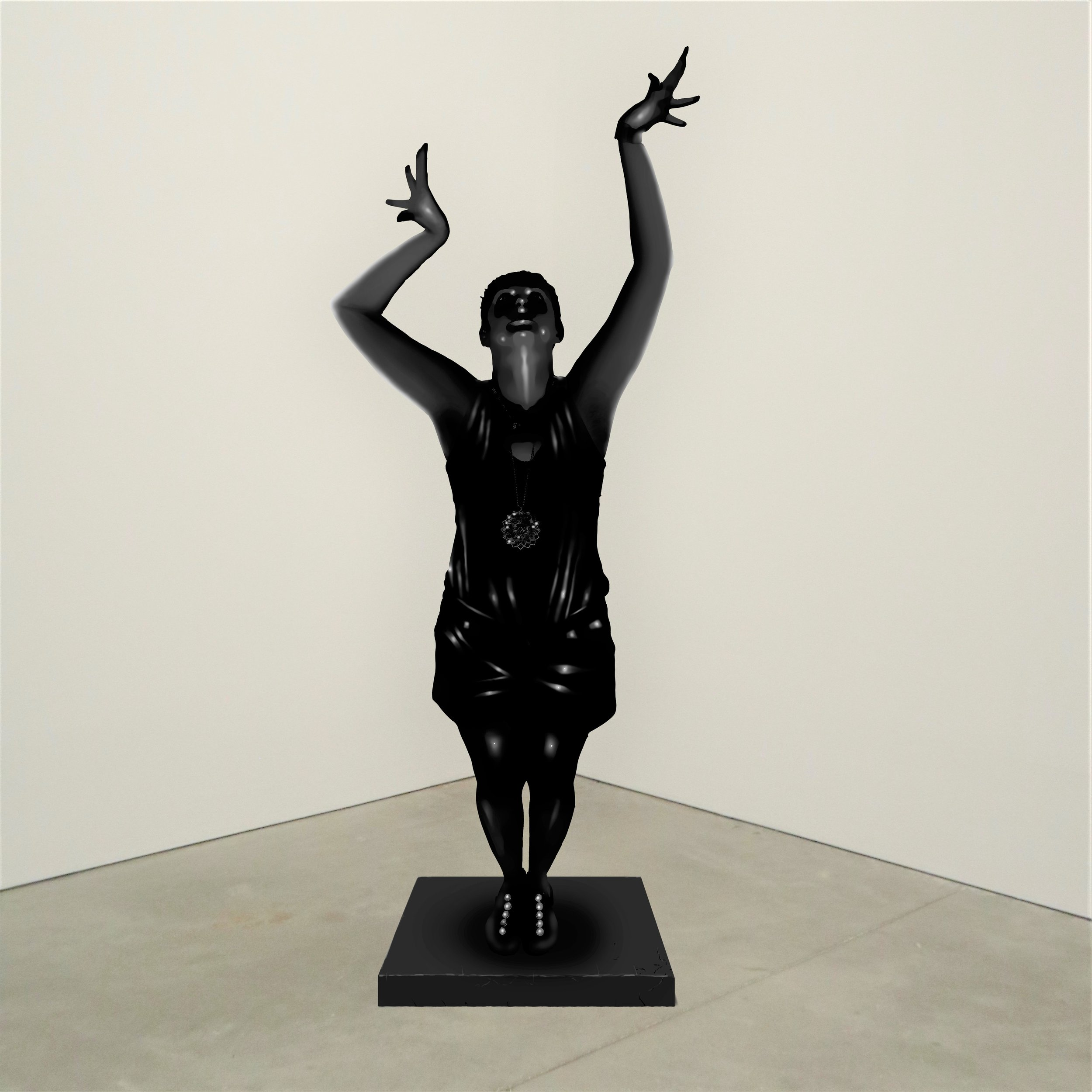 """OAK TREE,"" onyx, Institute of Contemporary Art, Boston   2018  JPG  During an installation at the Institute of Contemporary Art in Boston, viewers were invited to imagine themselves as statues in the ICA's permanent collection. Participants were photographed posing as a statue they felt represented themselves, created a name for their fictional statue, and selected a stone from which their statue would be made. Professional and amateur digital artists were commissioned to create renderings of the statues, which were superimposed on photos of the ICA's permanent collection gallery space."