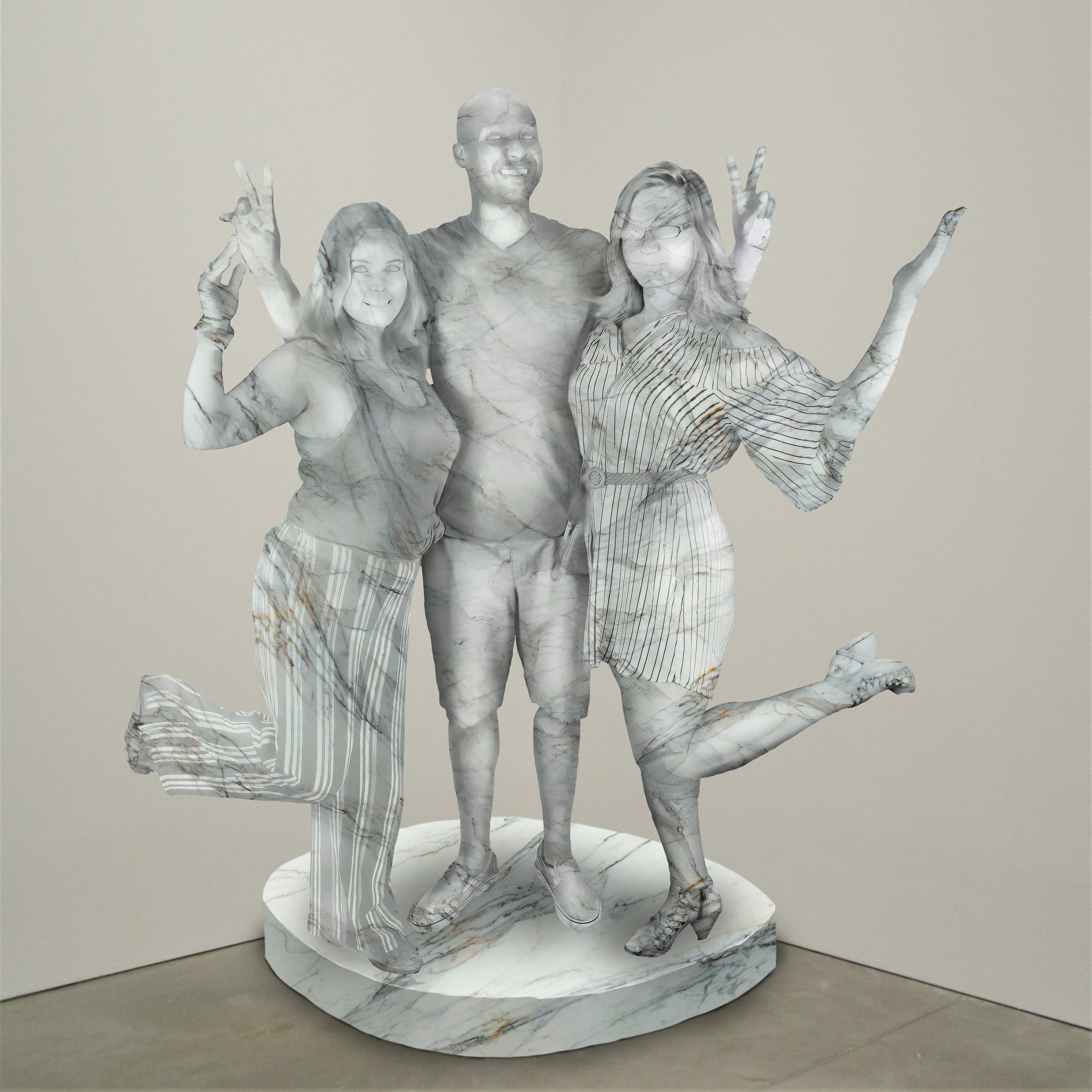 """World Peace,"" marble, Institute of Contemporary Art, Boston   2018  JPG  During an installation at the Institute of Contemporary Art in Boston, viewers were invited to imagine themselves as statues in the ICA's permanent collection. Participants were photographed posing as a statue they felt represented themselves, created a name for their fictional statue, and selected a stone from which their statue would be made. Professional and amateur digital artists were commissioned to create renderings of the statues, which were superimposed on photos of the ICA's permanent collection gallery space."