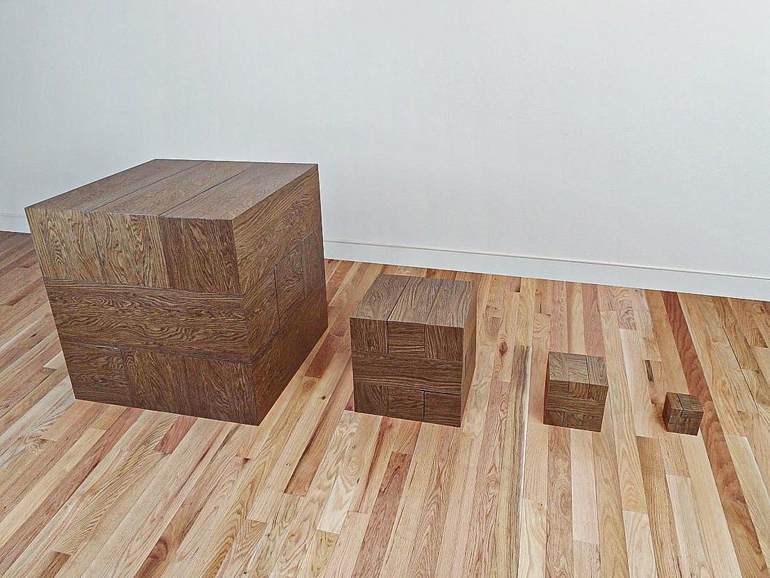 Arithmetical Description of Trabum (after Carl Andre, Richard Artschwager, Theo Van Doesberg)   2013  wood grain vinyl contact wrap, acrylic, tin, wood, foam board