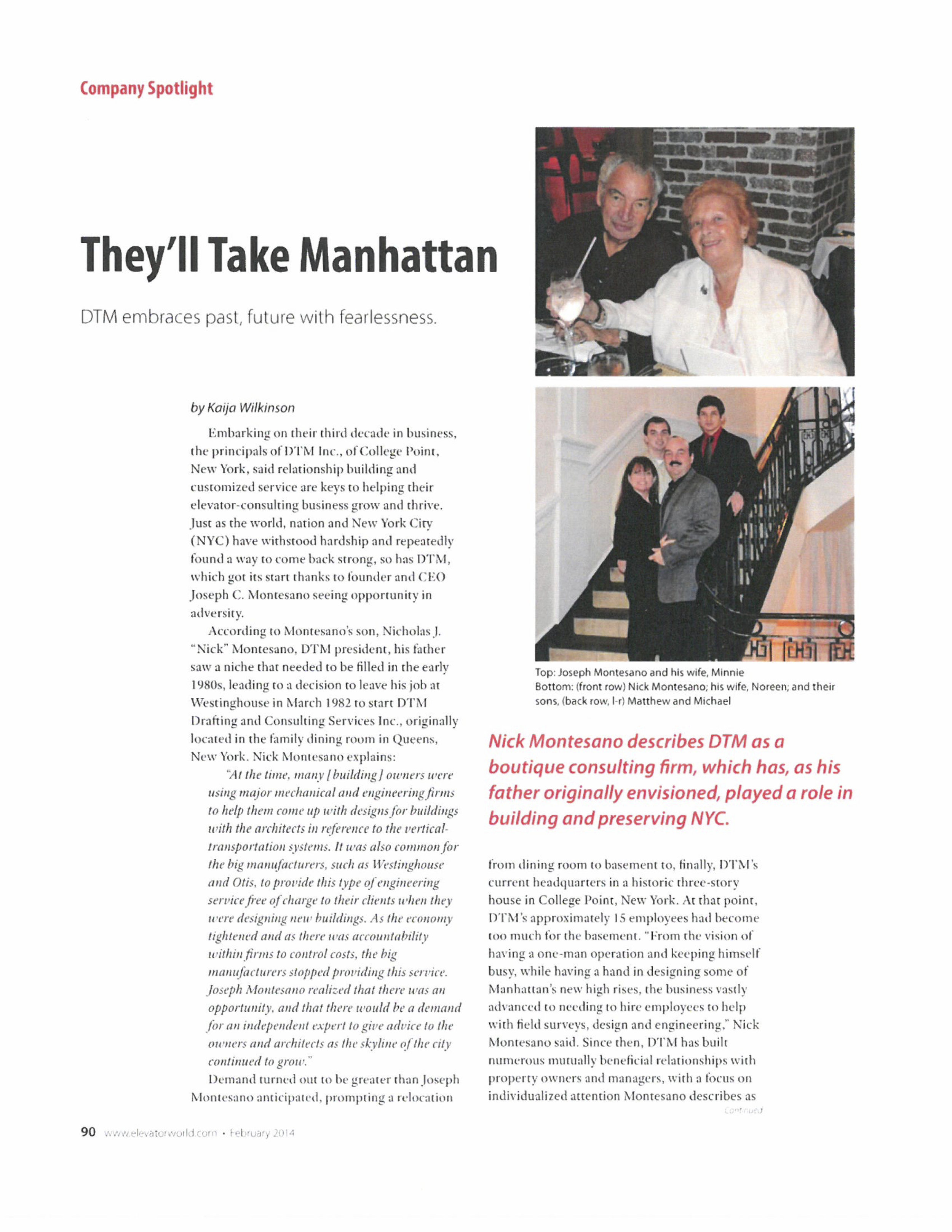 Elevator World Article on DTM 2014.jpg