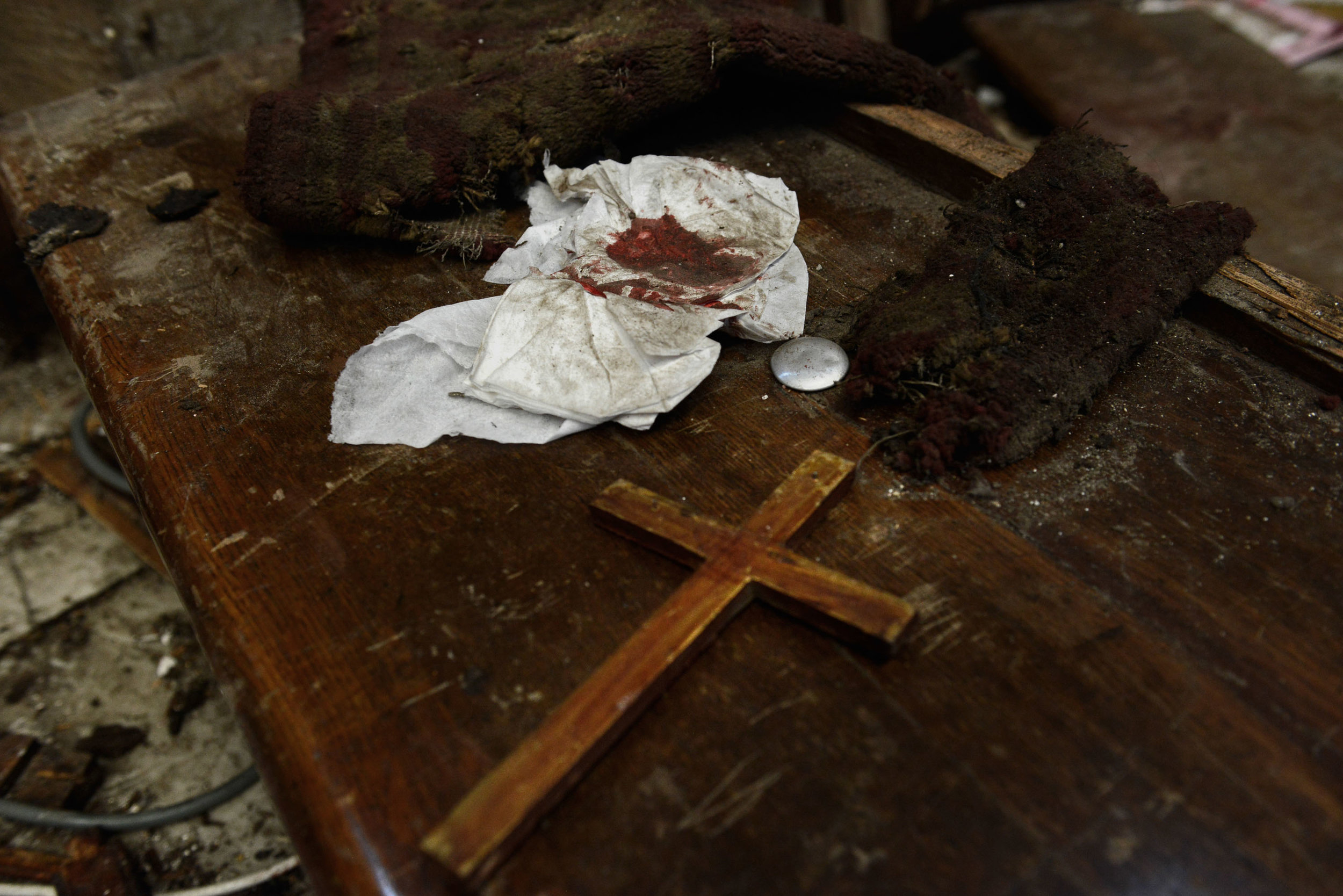 The aftermath at the chapel following the explosion. A bomb exploded in a chapel inside the Coptic Orthodox Cathedral of Abbasiya in Cairo, Egypt on December 11, 2016 leading to the death of 25 Christian Egyptians. Photo by Jonathan Rashad.