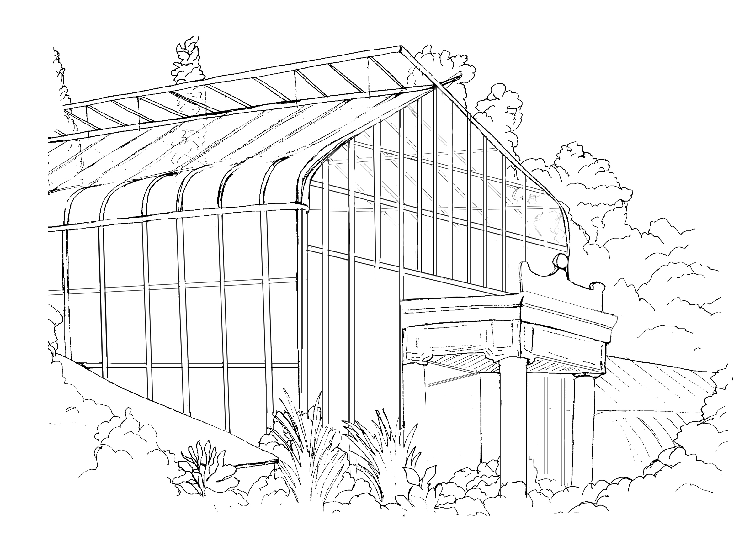 Ink illustration of Wave Hill's greenhouse