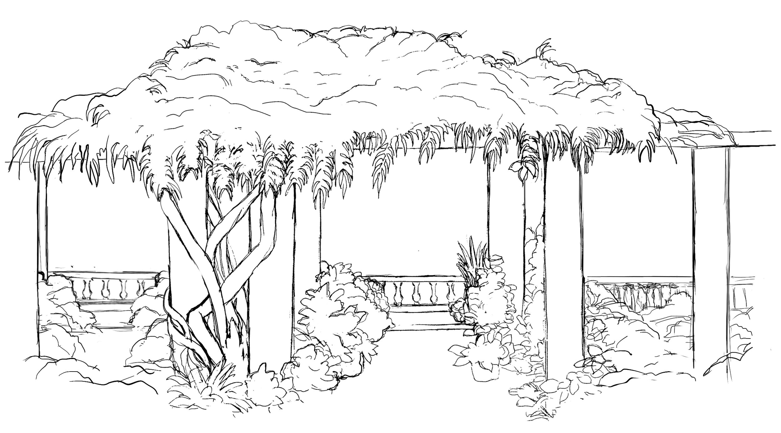 Ink illustration of Wave Hill's pergola
