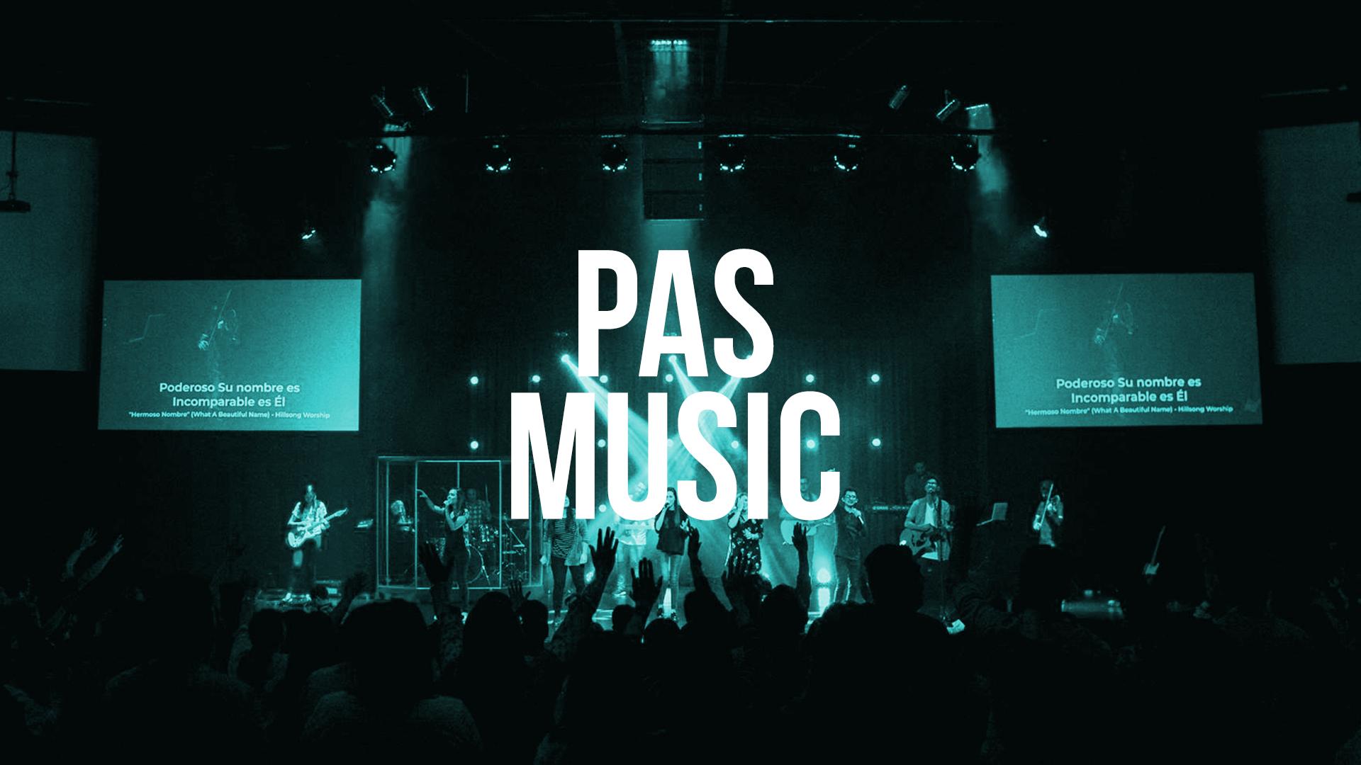 PAS Music es la expresión de adoración de nuestra iglesia por medio de la música. Un equipo de alrededor de 60 personas que semana a semana dirige la adoración en las diferentes reuniones en comunidad, además de componer, escribir y grabar música original nacida en Comunidad PAS.