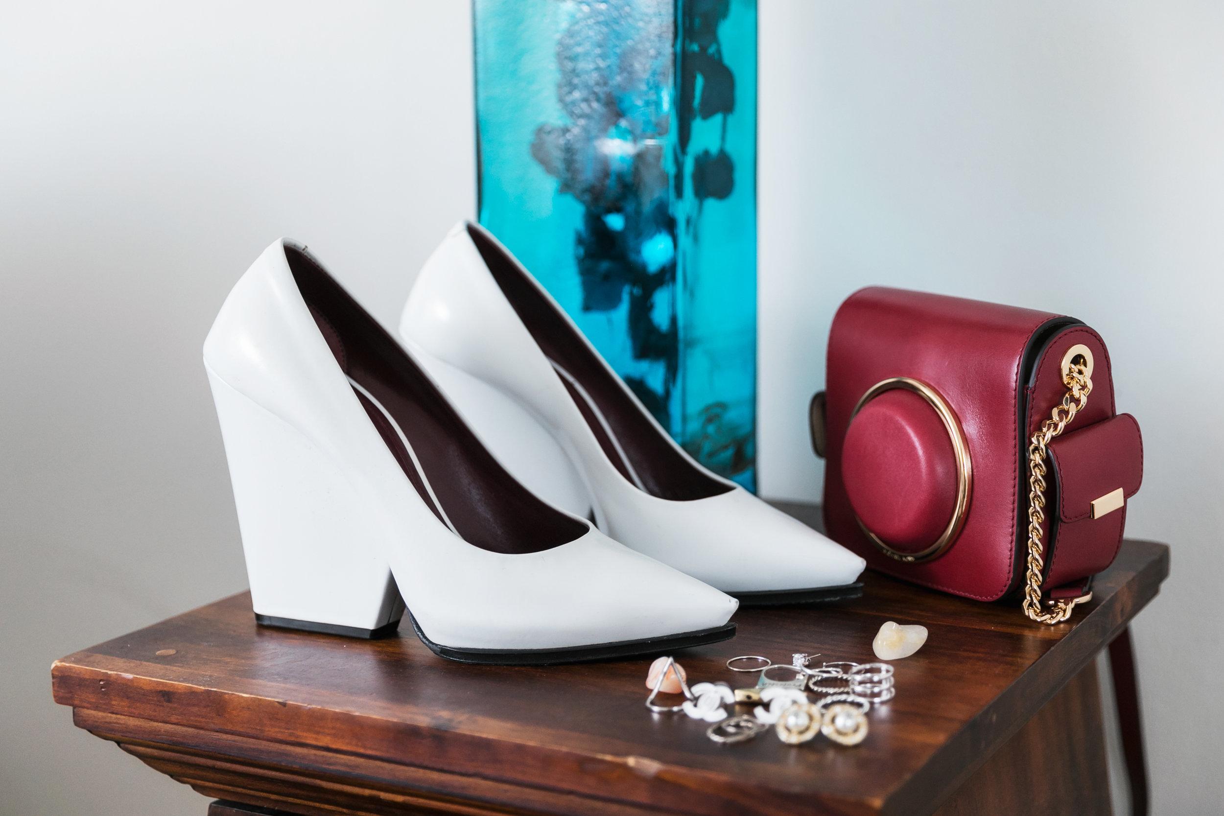 Shoes: Celine. Bag: Michael Kors. Earrings: Chanel.