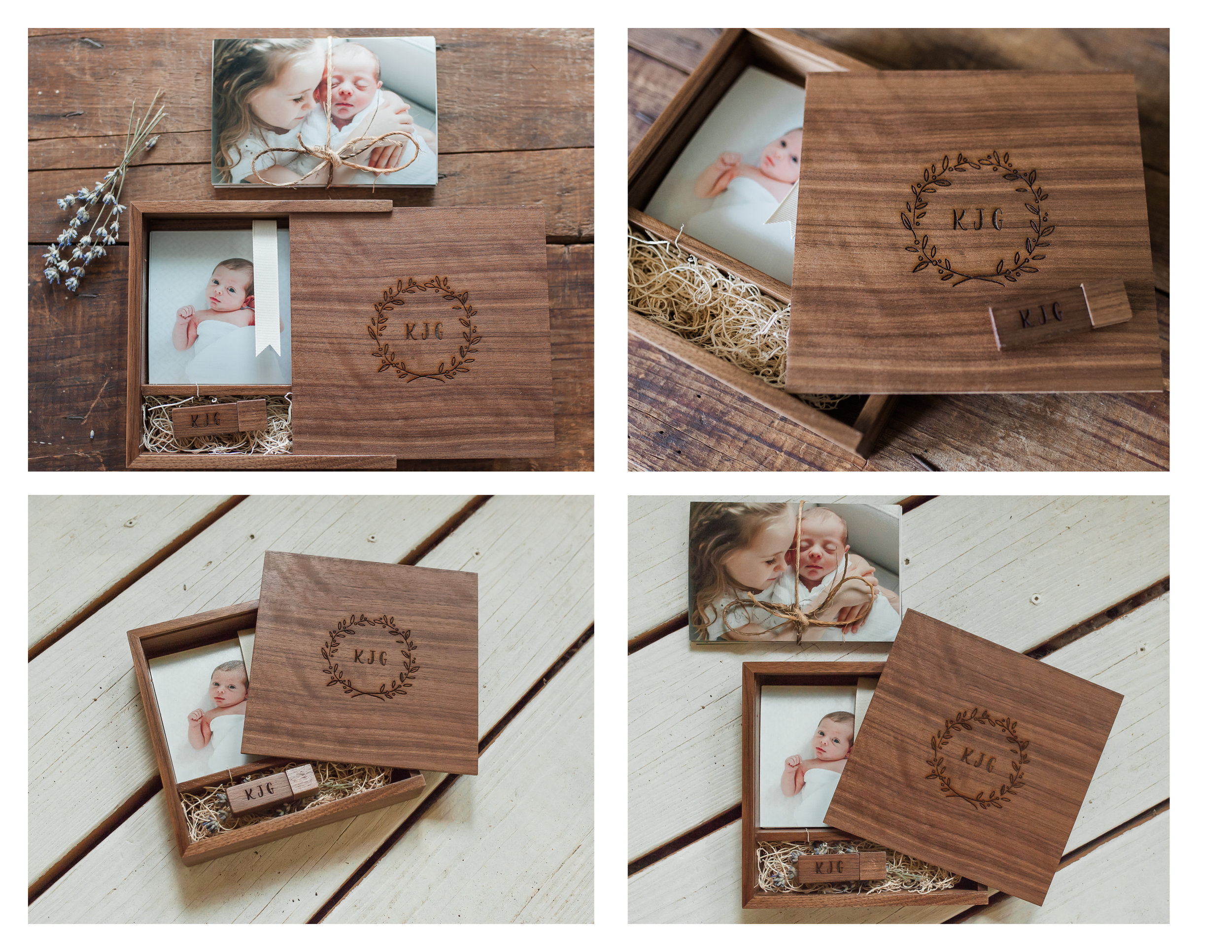PRODUCTS PICTURED ABOVE: Custom wooden keepsake box + USB flash drive filled with 4x6 prints
