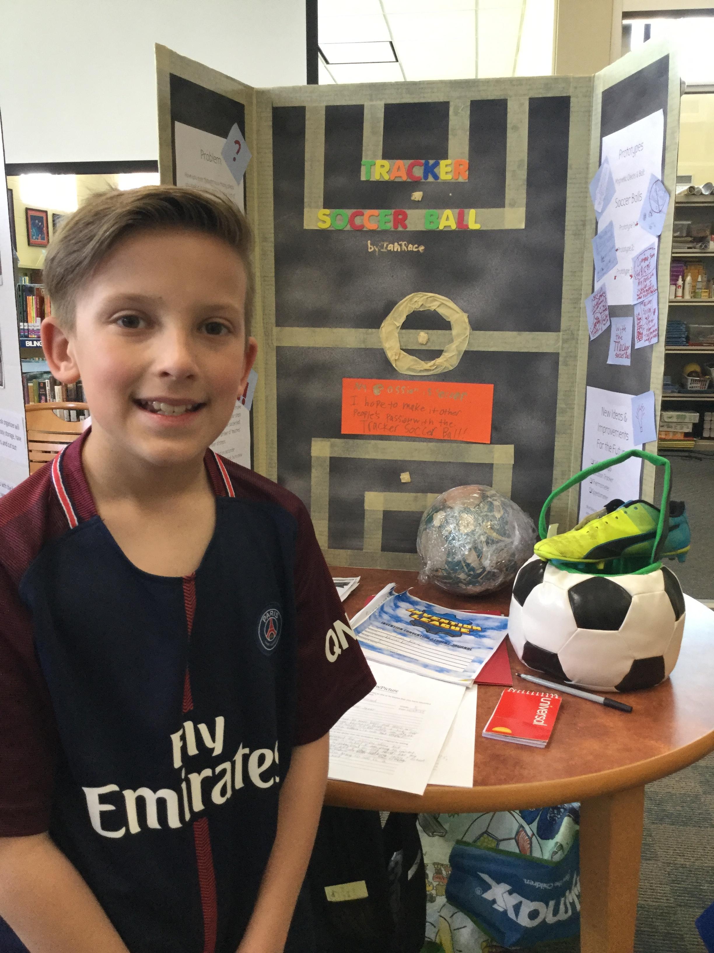 Ian Race and his soccer ball tracker.