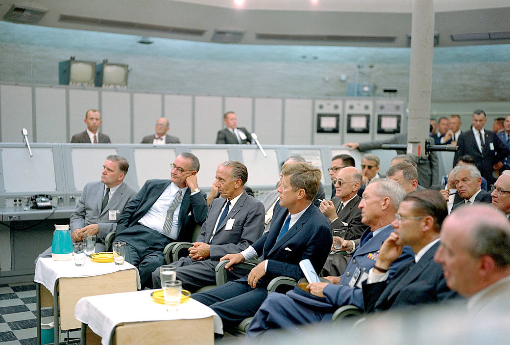 Kennedy listens -- Space meeting.jpg