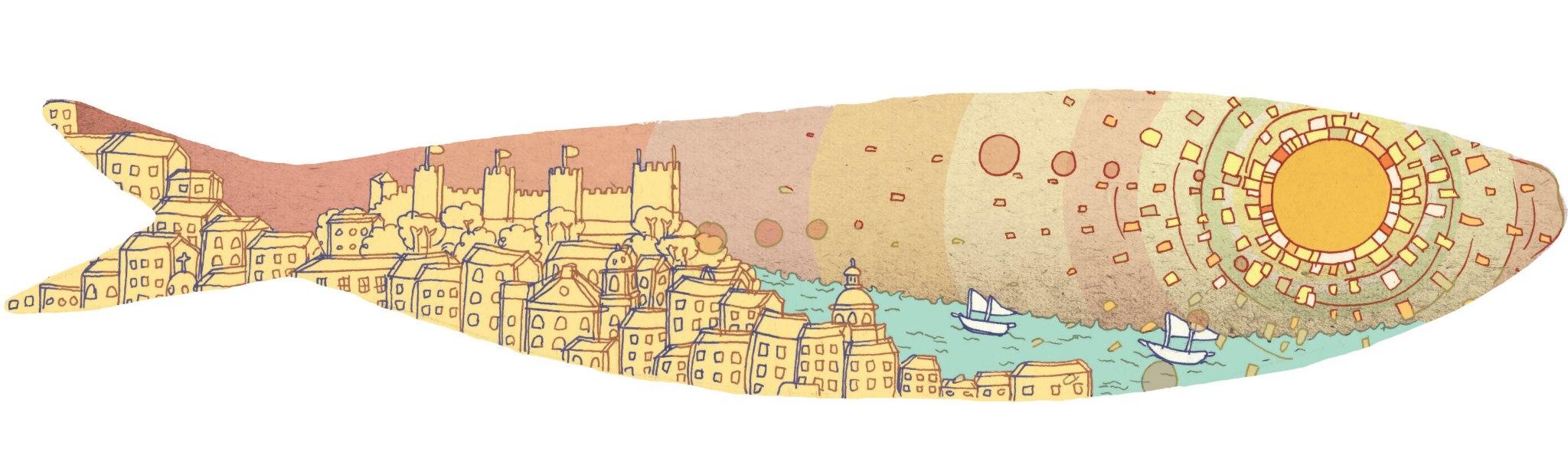 Lisbon in a Sardine, Ink and Digital, 2014