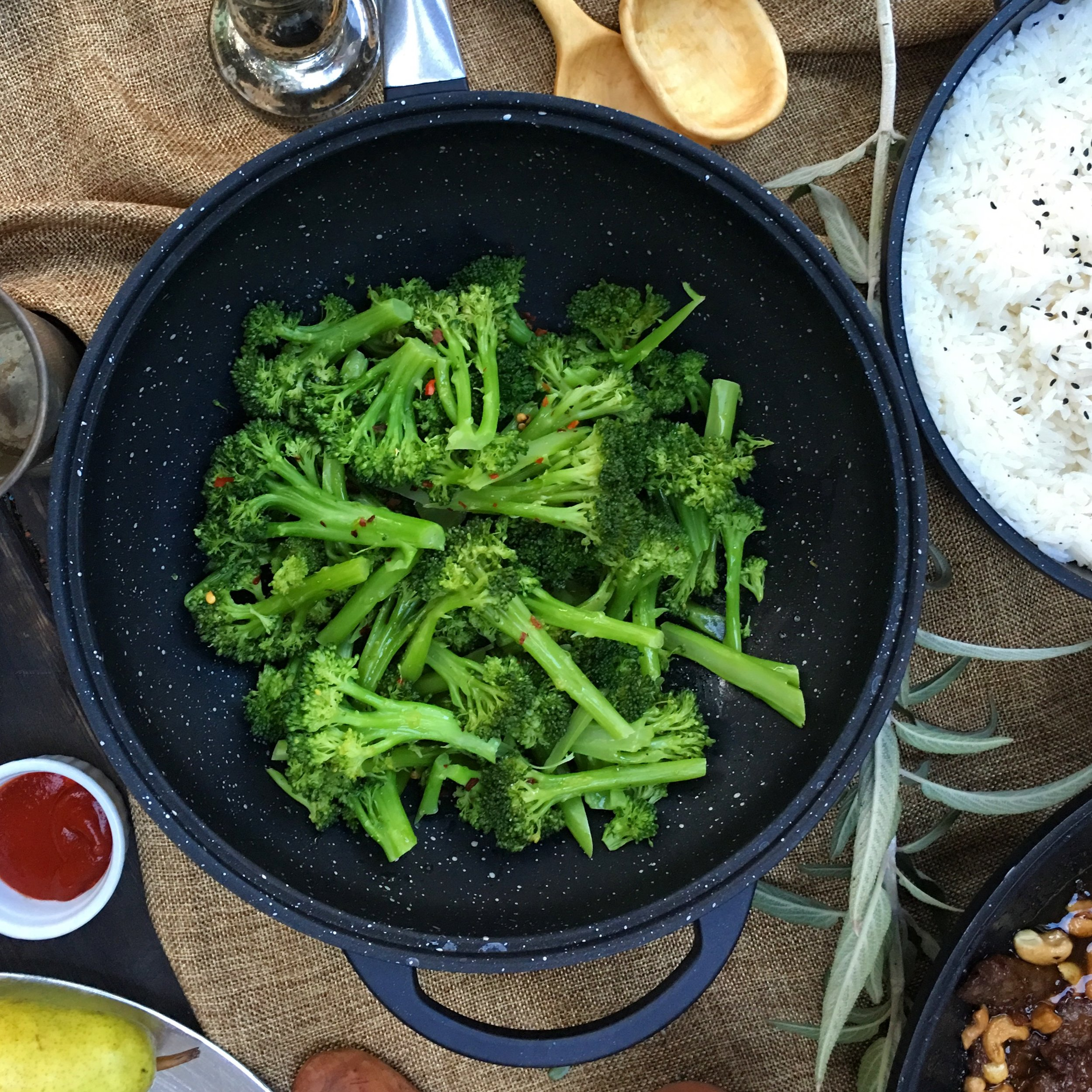 Broccoli quickly sauted in our stir-fry pan.