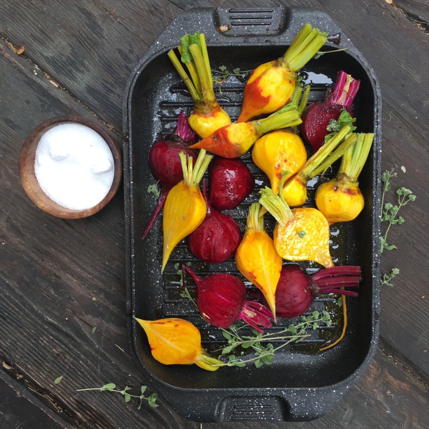 Beets ready to roast in your gorgeous EuroCAST grill lid from the double-roaster.