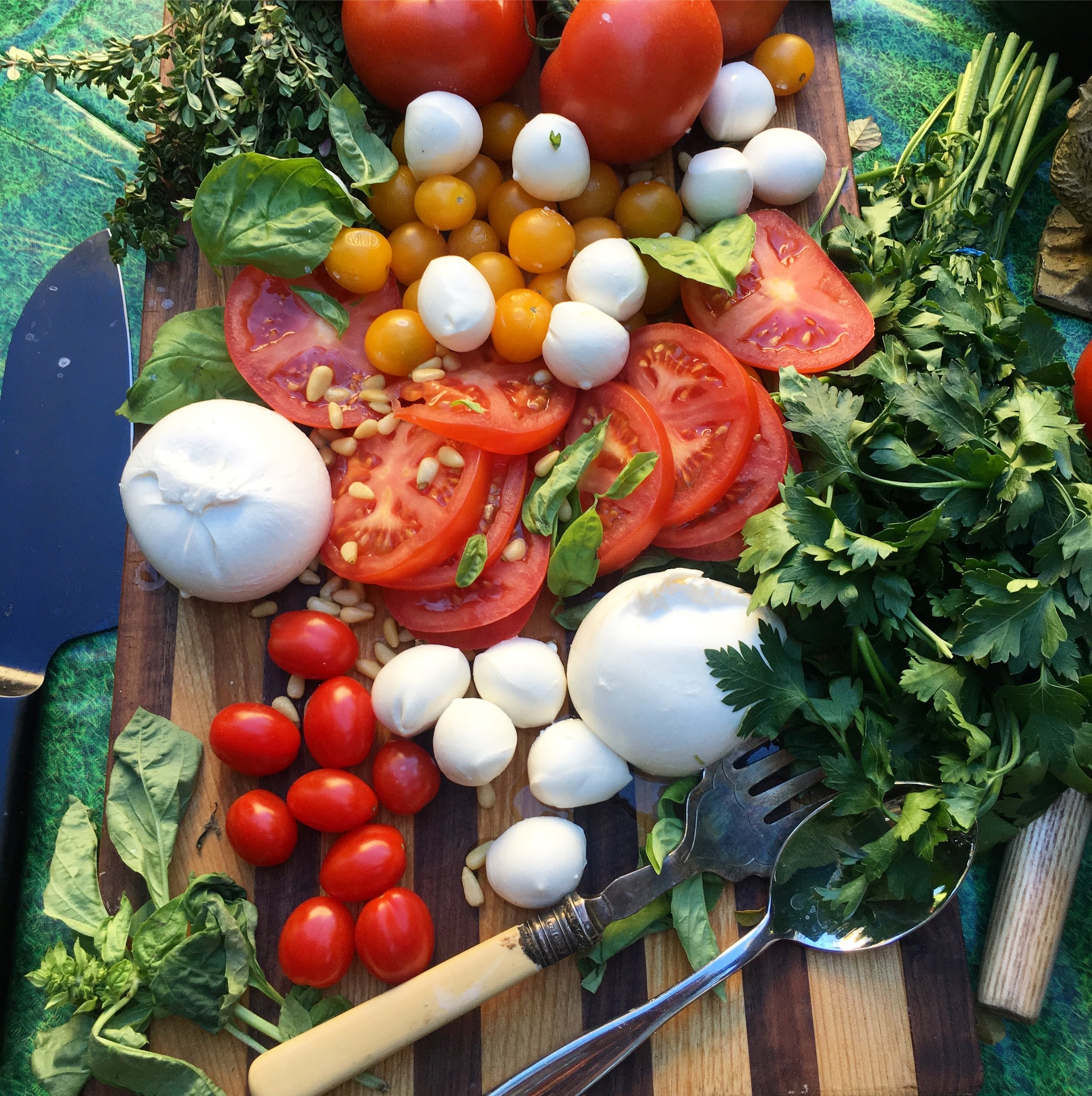 """You can do it like a """"Make Your Own Caprese""""board.You could add wafer thin slices of radish.Walnuts.Raw crudités"""