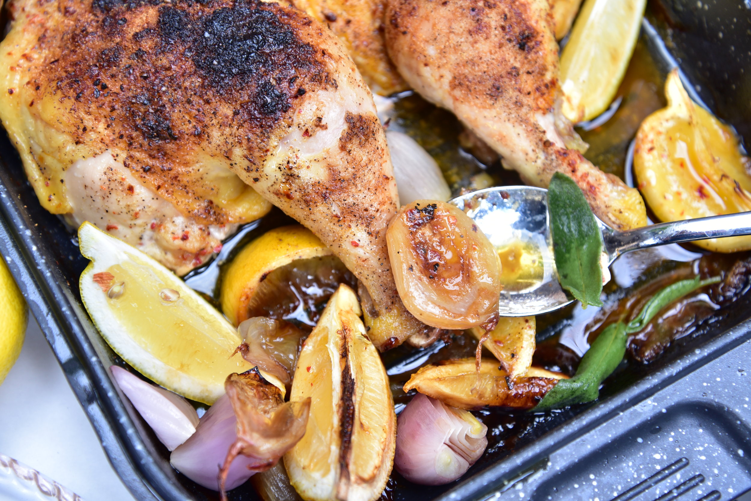 Yes, the chicken tastes terrific. But can you imagine how delicious the shallots and lemons taste, too, after roasting with that bird? Try.