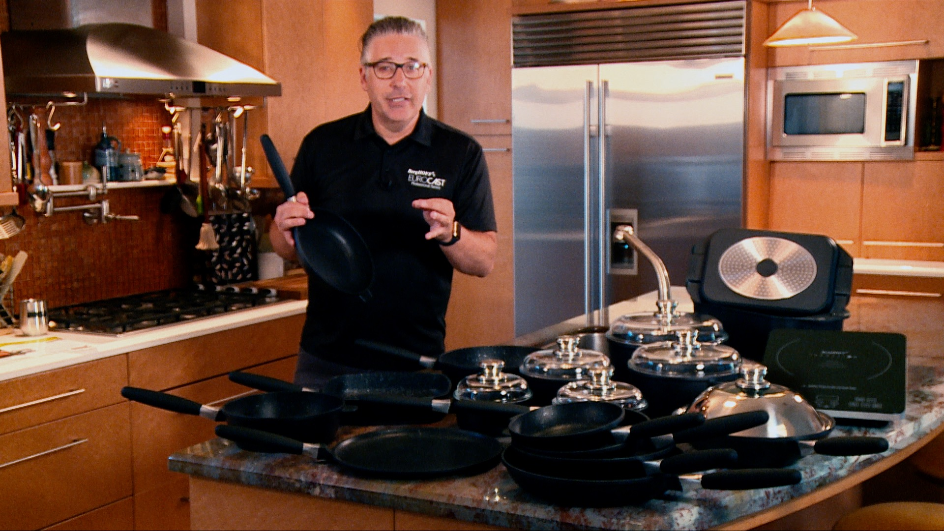 Jay Laisné, Executive Vice President of EuroCAST Cookware, shows off our bestselling sauté pan and our amazing Executive Set on  In Style TV  and WeTV.
