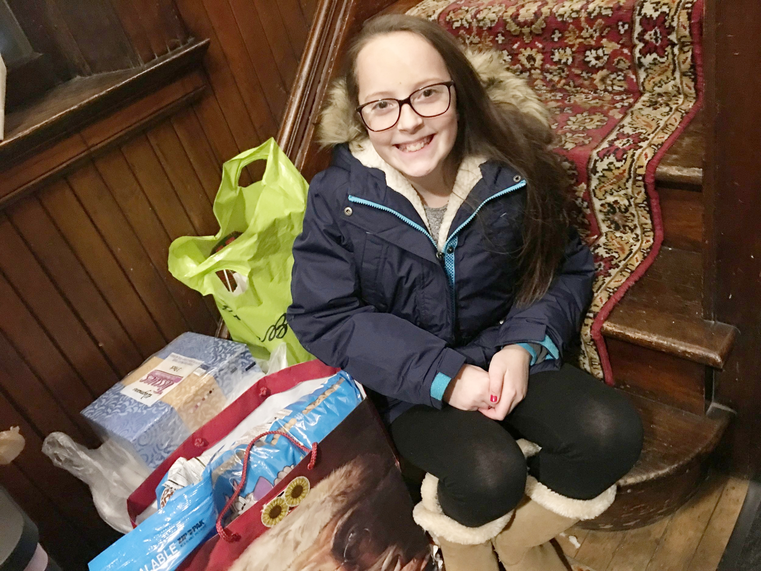Sarah Prowak with some of her donation items