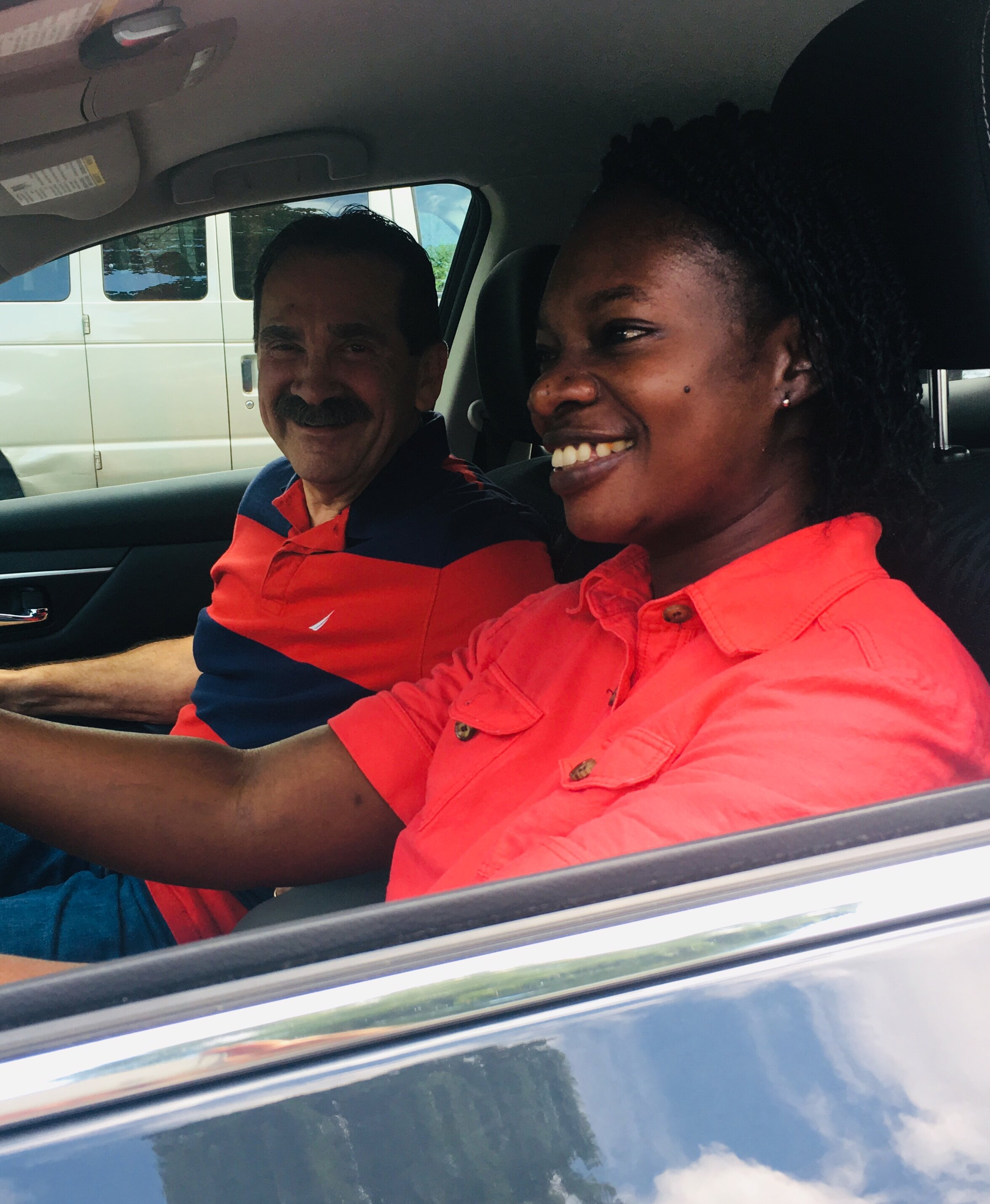 One of our selfless volunteers giving driving lessons to one of our moms, doing little things with great love!