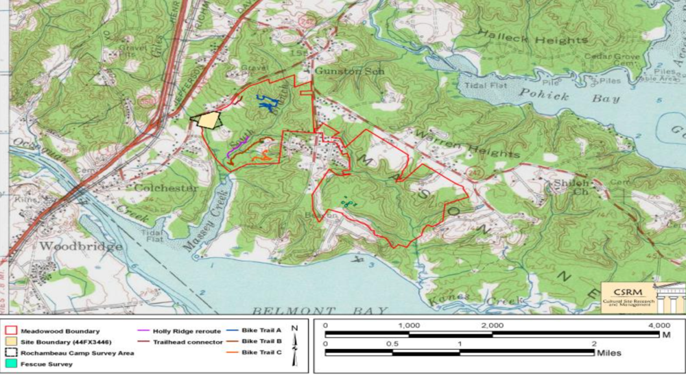 Boundaries of Meadowood SRMA and the location of the Rochambeau Encampment survey. The epic march of our Revolutionary War French allies delivered the cannon that spelled defeat for the British at the pivotal battle of Yorktown, securing Independence for the colonies and ultimately the United States.