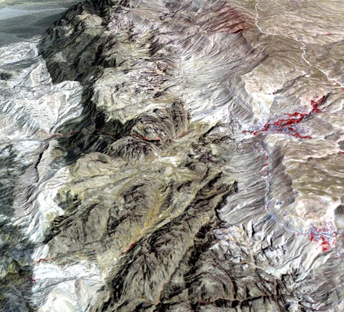 Petra terrain from NASA ASTER satellite vegetation in red