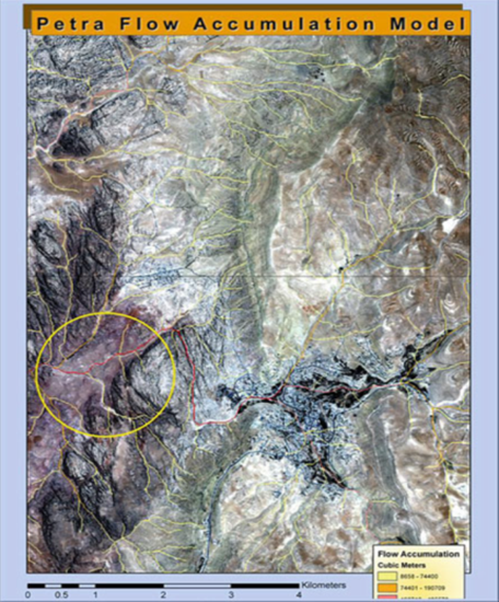Petra hydrology flow accumulation in core of city