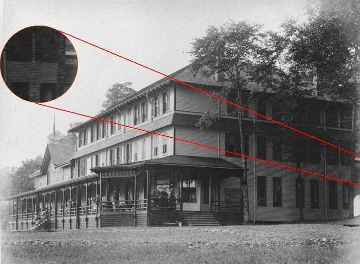 Historic Photo of clubhouse highlighting possible walkway to outhouse